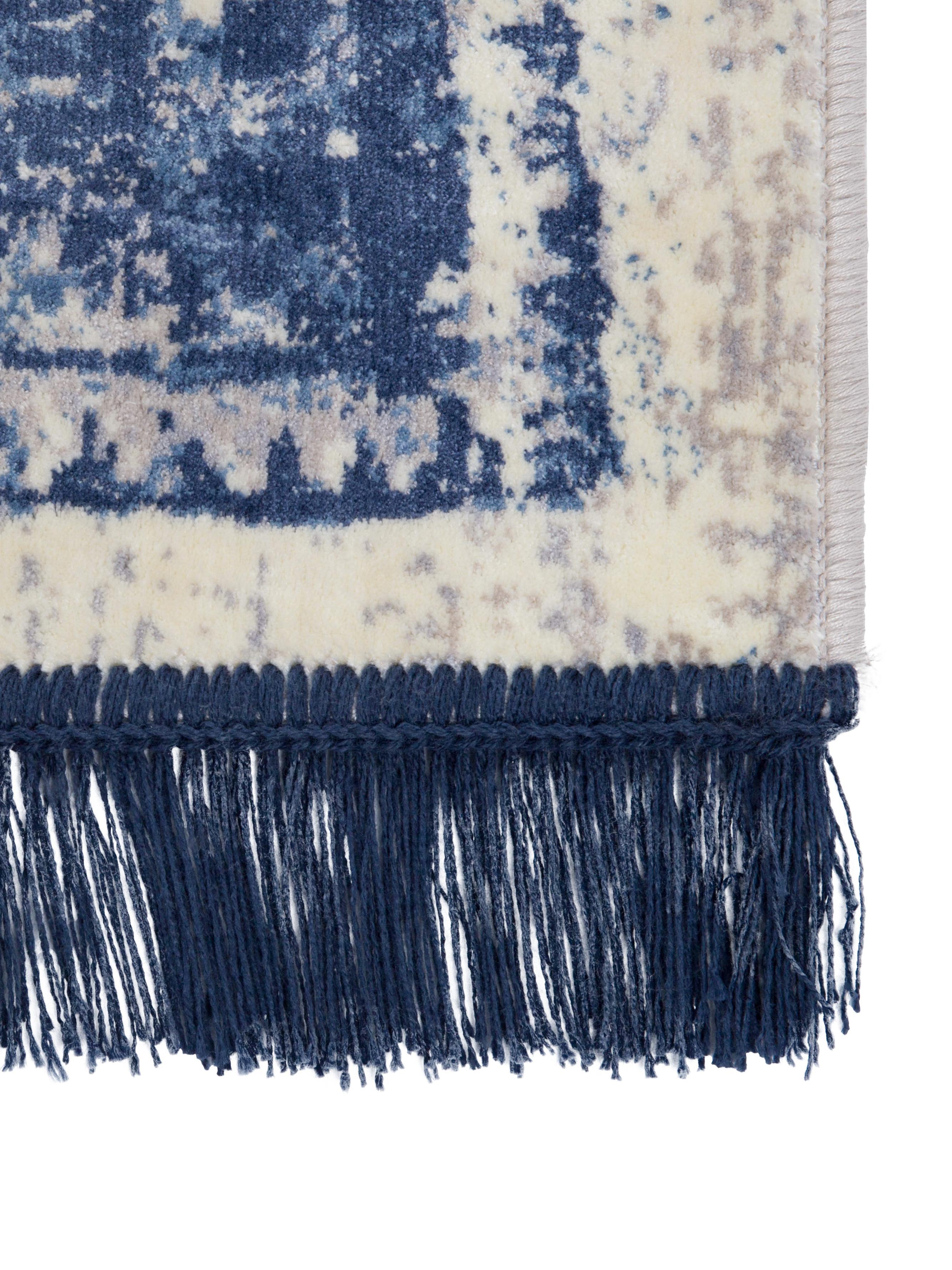 Tappeto in seta ecologica Marvel, Vello: 66% seta ecologica, 25% c, Retro: poliestere con rivestimen, Blu e tonalità beige, Larg. 170 x Lung. 240 cm (taglia M)