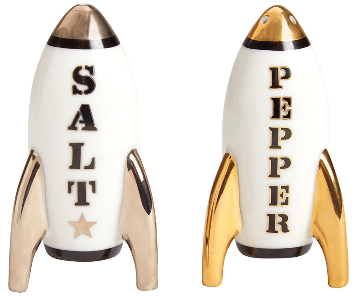 Design zout- en peperstrooierset Apollo,vergulden, 2-delig, Porselein, 24-karaats verguld, Wit, zilverkleurig, goudkleurig, 5 x 9 cm
