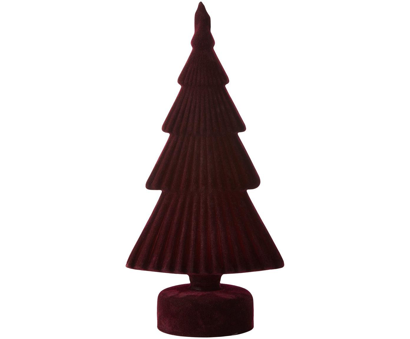 Pieza decorativa Velvie Christmas Tree, Figura: vidrio, Exterior: poliéster, Rojo oscuro, An 13 x Al 27 cm