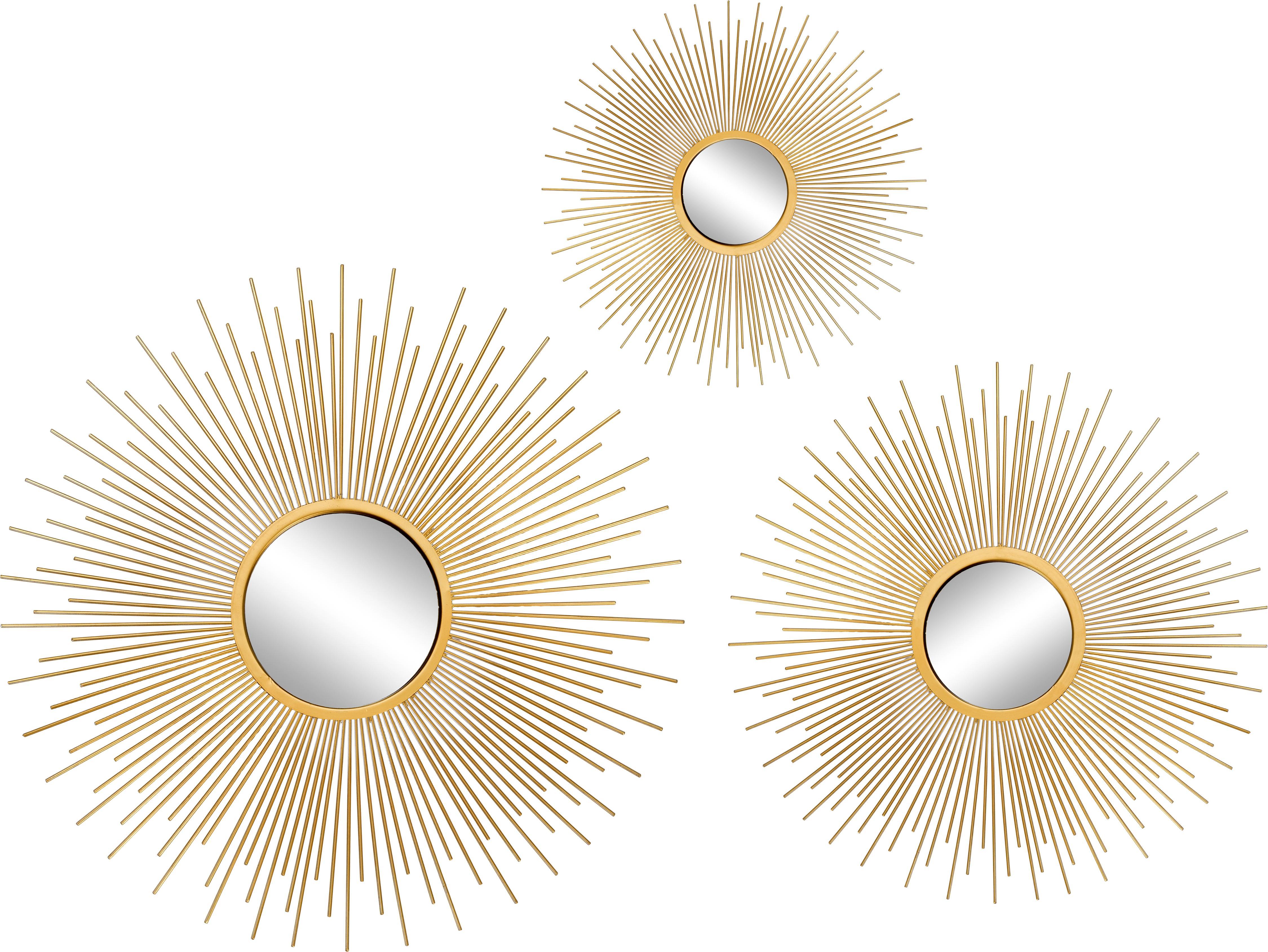 Wandspiegelsset Sun met goudkleurige lijst, 3-tlg, Lijst: gecoat aluminium, Goudkleurig, Verschillende formaten