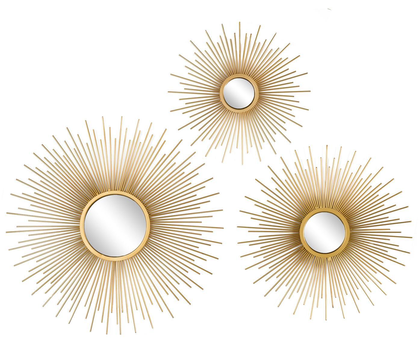 Set specchi da parete Sun 3 pz, Cornice: alluminio rivestito, Superficie dello specchio: lastra di vetro, Dorato, Diverse dimensioni