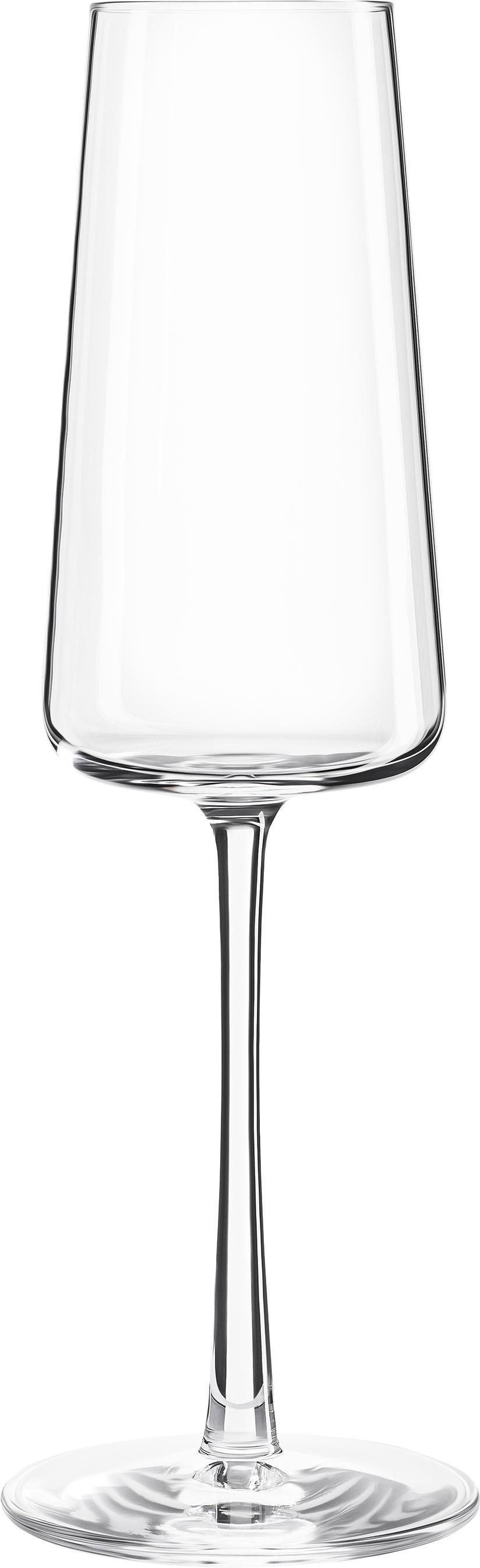 Copas flauta de champán de cristal Power, 6uds., Cristal, Transparente, Ø 7 x Al 23 cm