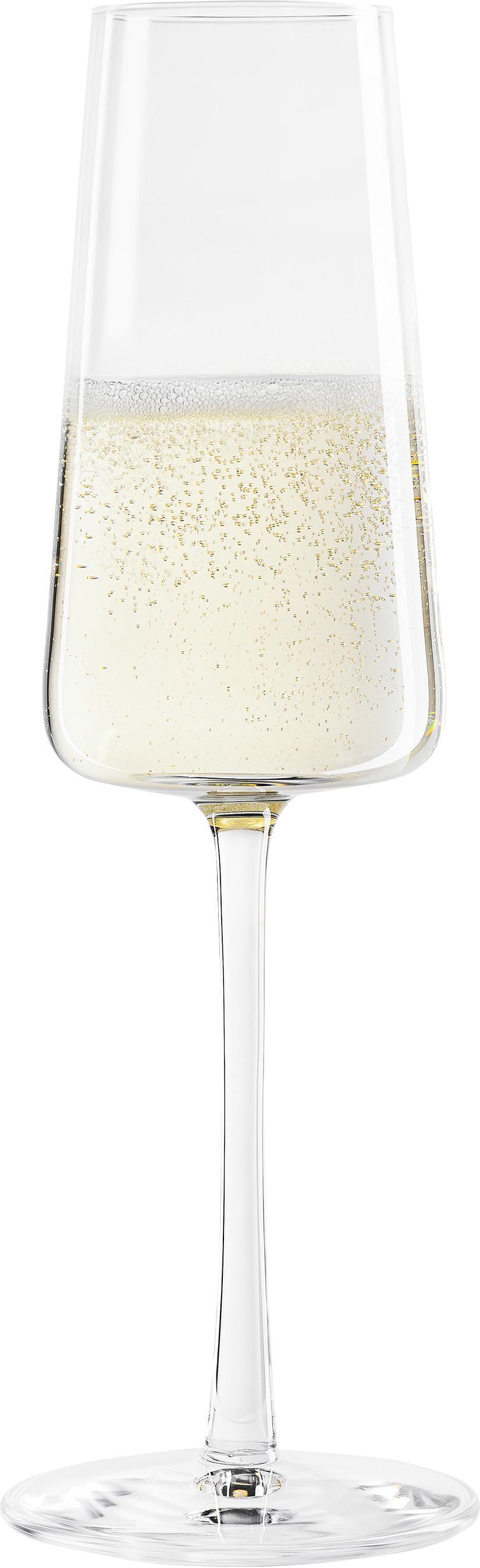 Flute champagne in cristallo Power 6 pz, Cristallo, Trasparente, Ø 7 x Alt. 23 cm