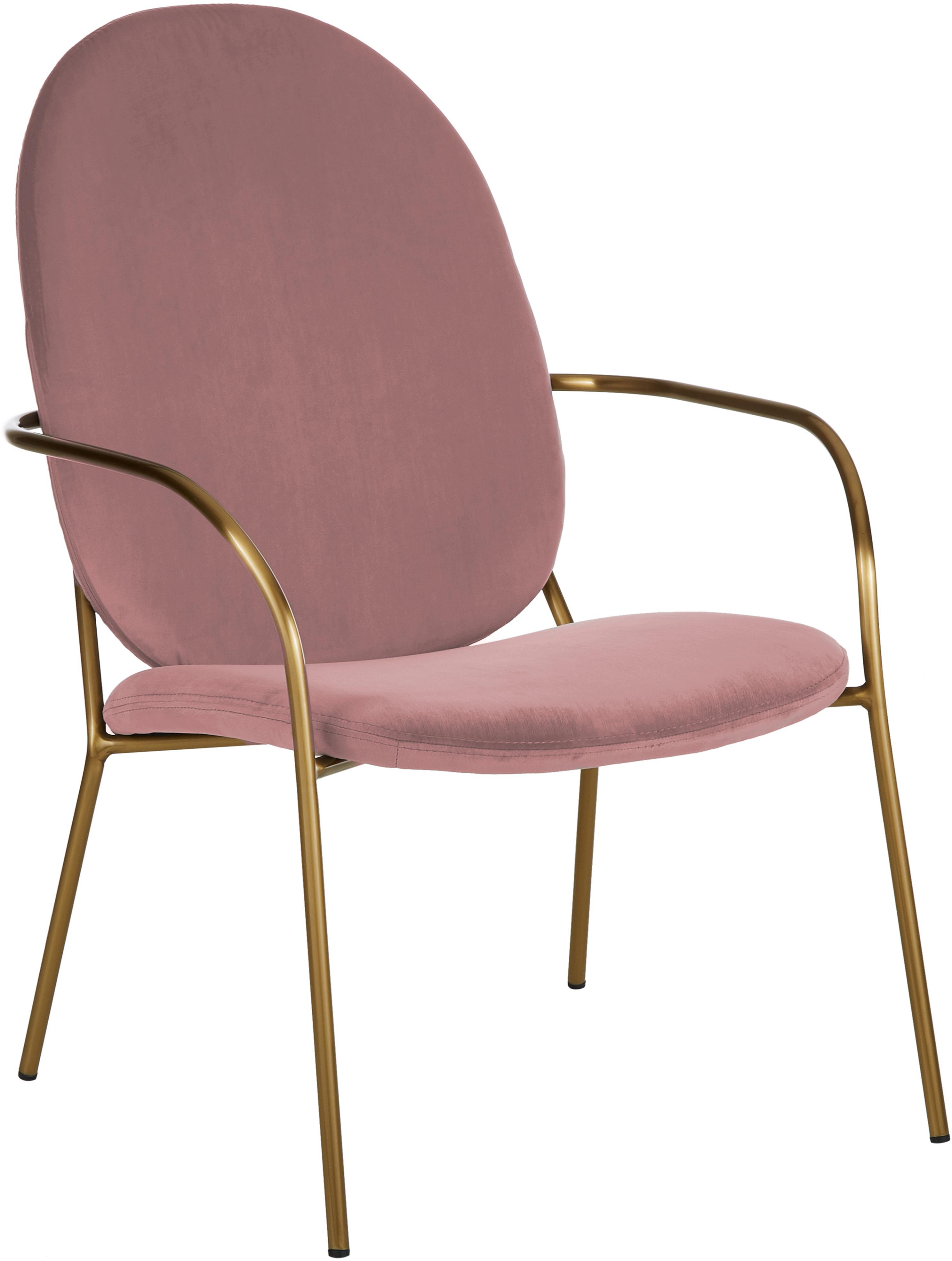 Fluwelen lounge fauteuil Mary, Bekleding: fluweel (polyester), Frame: gecoat metaal, Oudroze, B 63 x D 73 cm