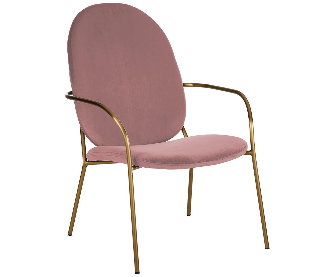 Sedia a poltrona in velluto Mary, Rivestimento: velluto (poliestere) 15.0, Struttura: metallo rivestito, Velluto rosa cipria, Larg. 63 x Prof. 73 cm