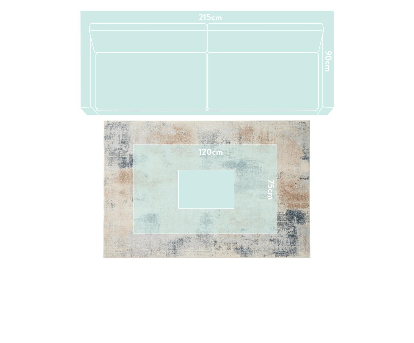Design vloerkleed Rustic Textures II in beige-grijs, Bovenzijde: 51%polypropyleen, 49%po, Onderzijde: 50%jute, 50%latex, Beigetinten, grijs, B 240 x L 320 cm (maat L)
