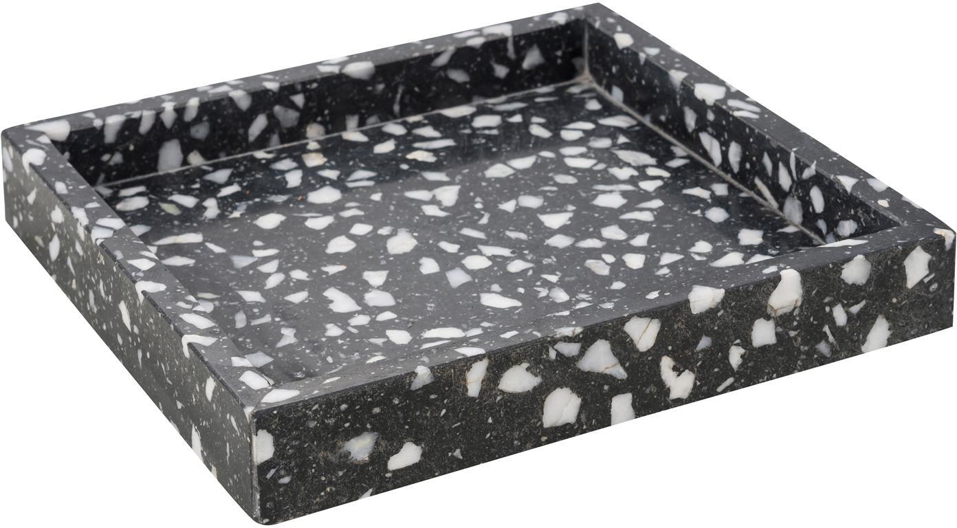 Dienblad Hygge van terrazzo, Terrazzo, Zwart, wit, B 20 x D 20 cm