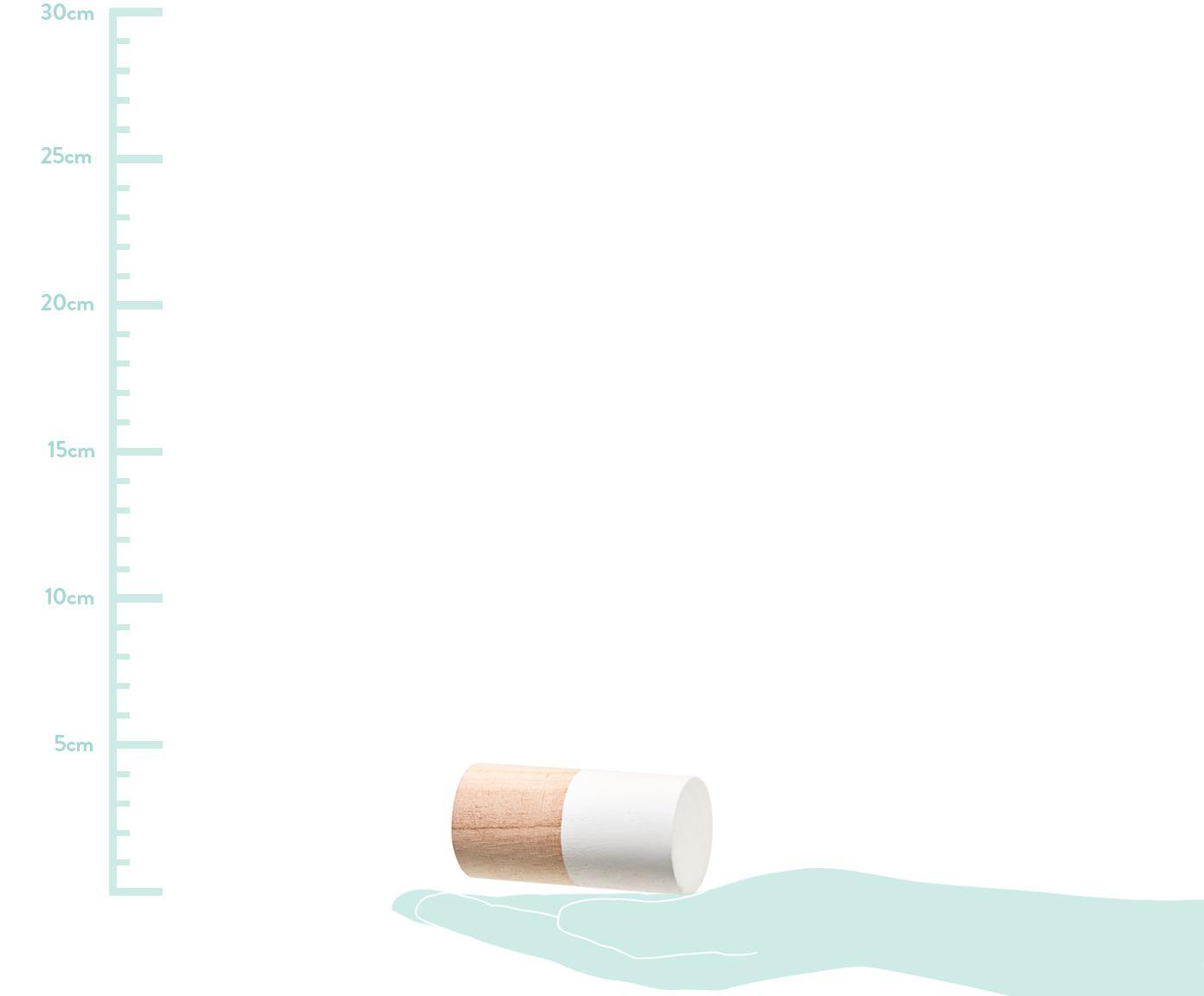 Kleiderhaken-Set Mandi aus Holz, 3-tlg., Paulowniaholz, Braun, Weiß, Rosa, Grau, Ø 4 x T 8 cm