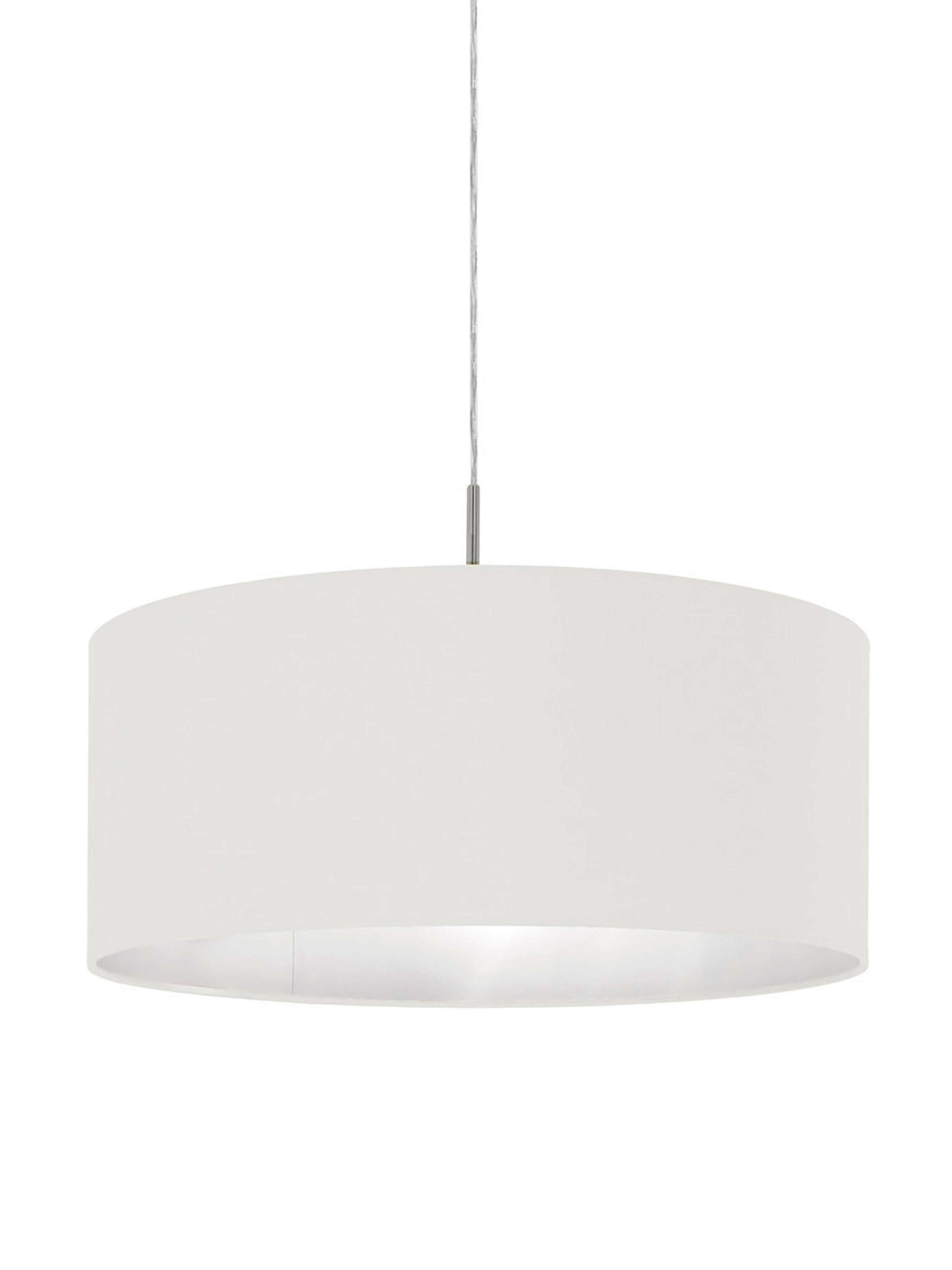 Lámpara de techo Parry, Anclaje: metal niquelado, Pantalla: tela, Cable: plástico, Plateado, blanco, ∅ 53 x Al 25 cm