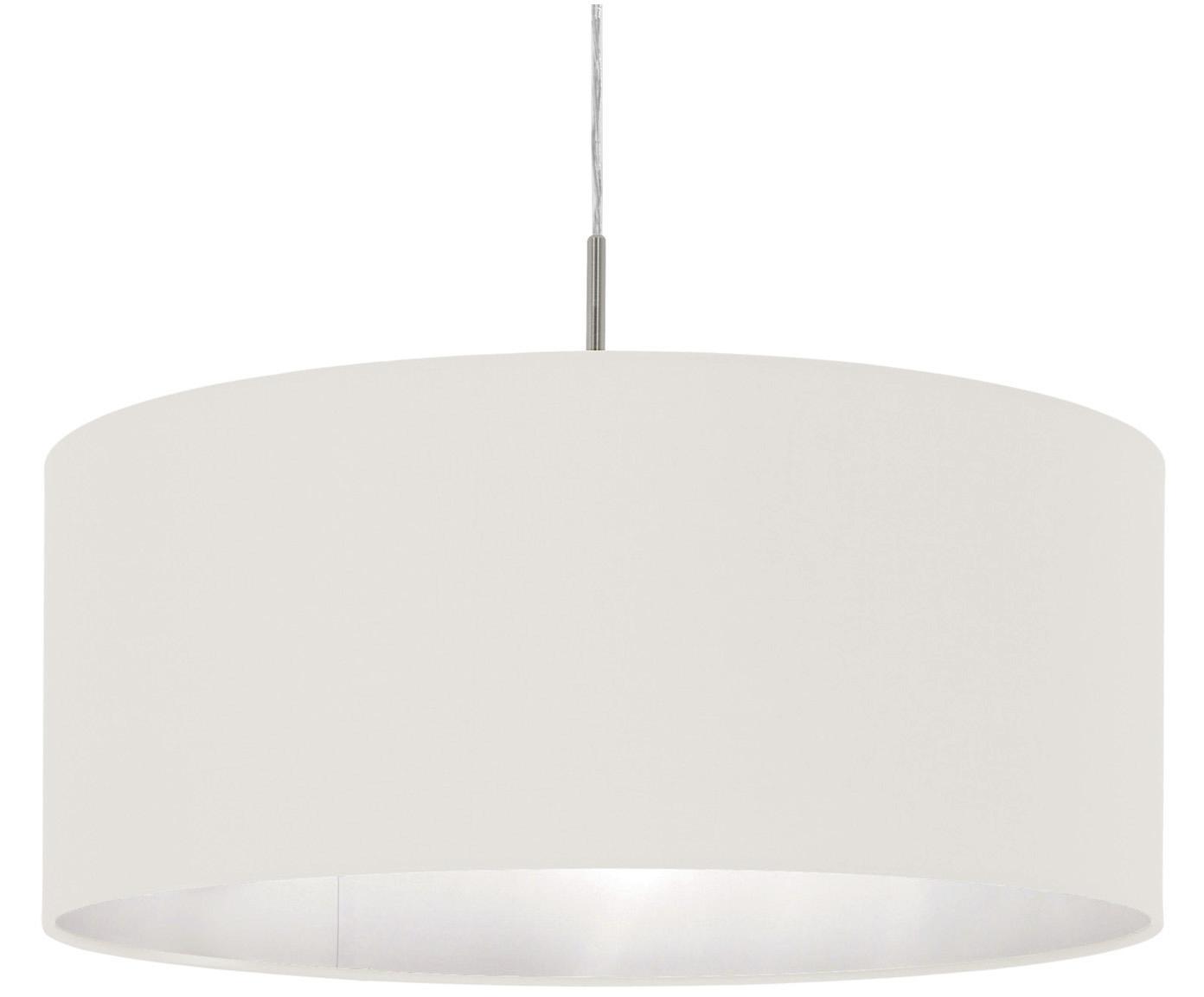 Hanglamp Parry, Baldakijn: vernikkeld metaal, Fitting: vernikkeld metaal, Lampenkap: textiel, Zilverkleurig, wit, Ø 53 x H 25 cm