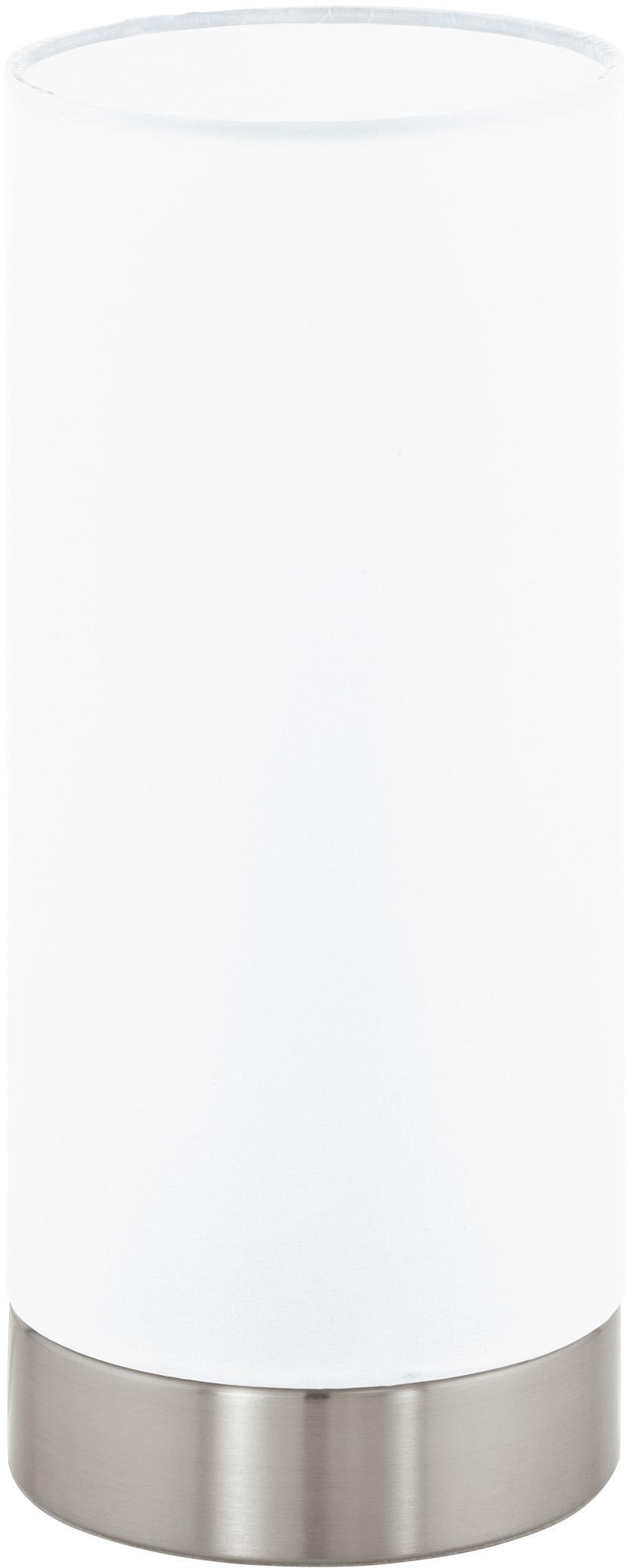Dimmbare Tischlampe Pasteri, Lampenschirm: Polyester, Weiss, Nickel, Ø 12 x H 26 cm