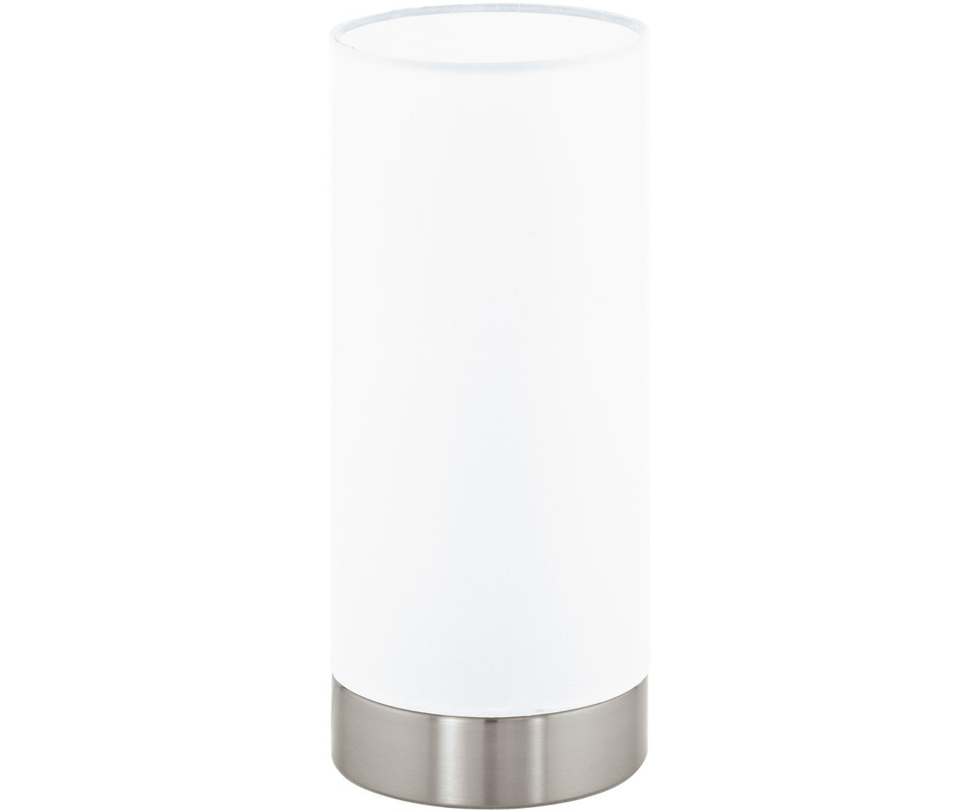 Dimbare tafellamp Pasteri, Lampenkap: polyester, Lampvoet: vernikkeld staal, Wit, nikkelkleurig, Ø 12 x H 26 cm