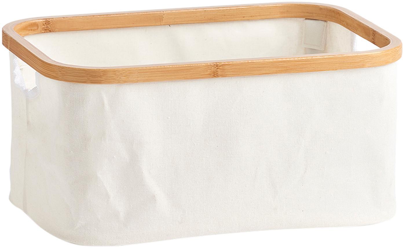 Opbergmand Maltri, Textiel, bamboehout, Beige, 38 x 18 cm