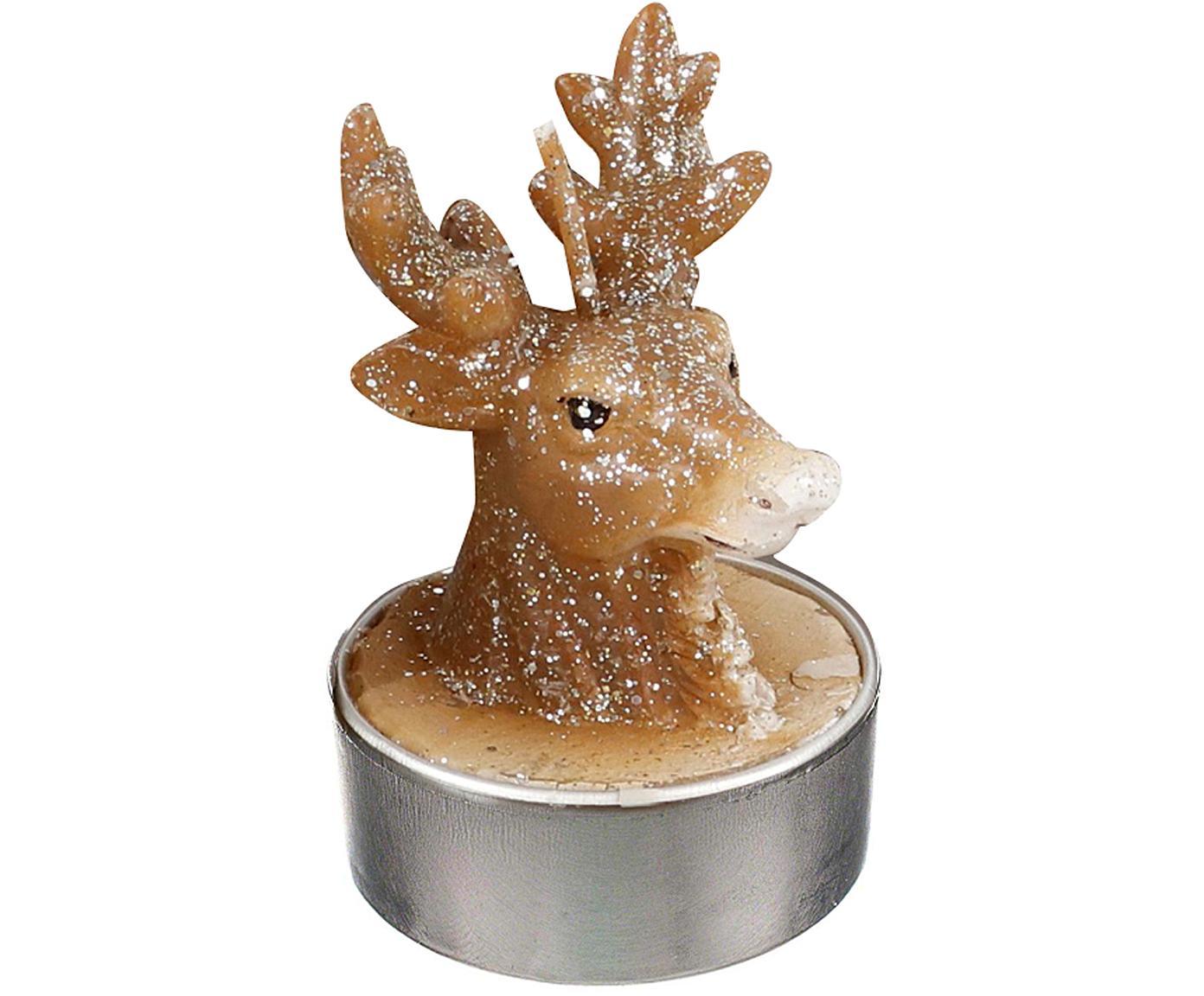 Velas tealight Deer, 6uds., Cera, Marrón, Ø 4 x Al 6 cm