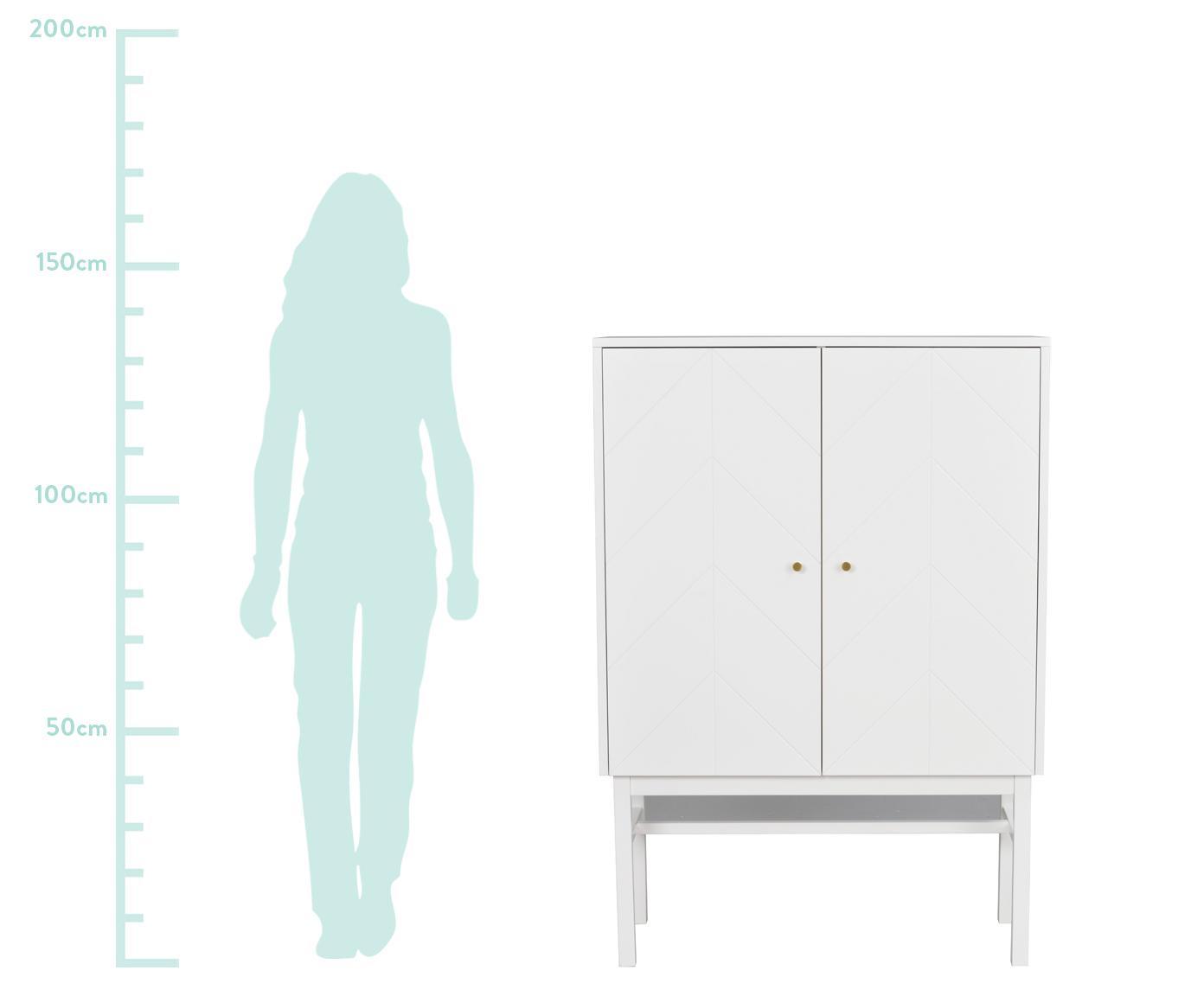 Highboard Webster mit 2 Türen, Korpus: Mitteldichte Holzfaserpla, Beine: Gummibaumholz, massiv, Weiss, 94 x 135 cm