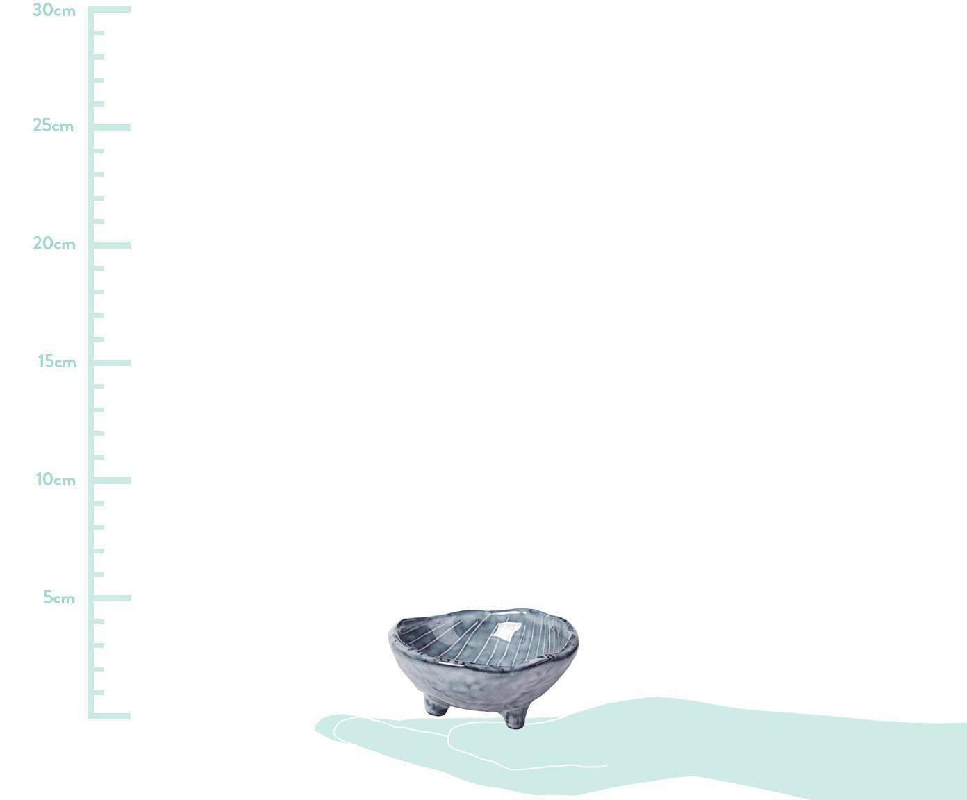 Handgemachte Dipschalen Nordic Sea aus Steingut, 4 Stück, Steingut, Grau- und Blautöne, Ø 8 x H 4 cm