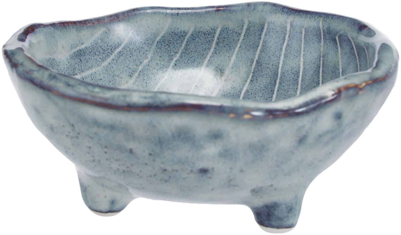 Cuencos artesanales Nordic Sea, 4uds., Gres, Tonos de gris y azul, Ø 8 x Al 4 cm