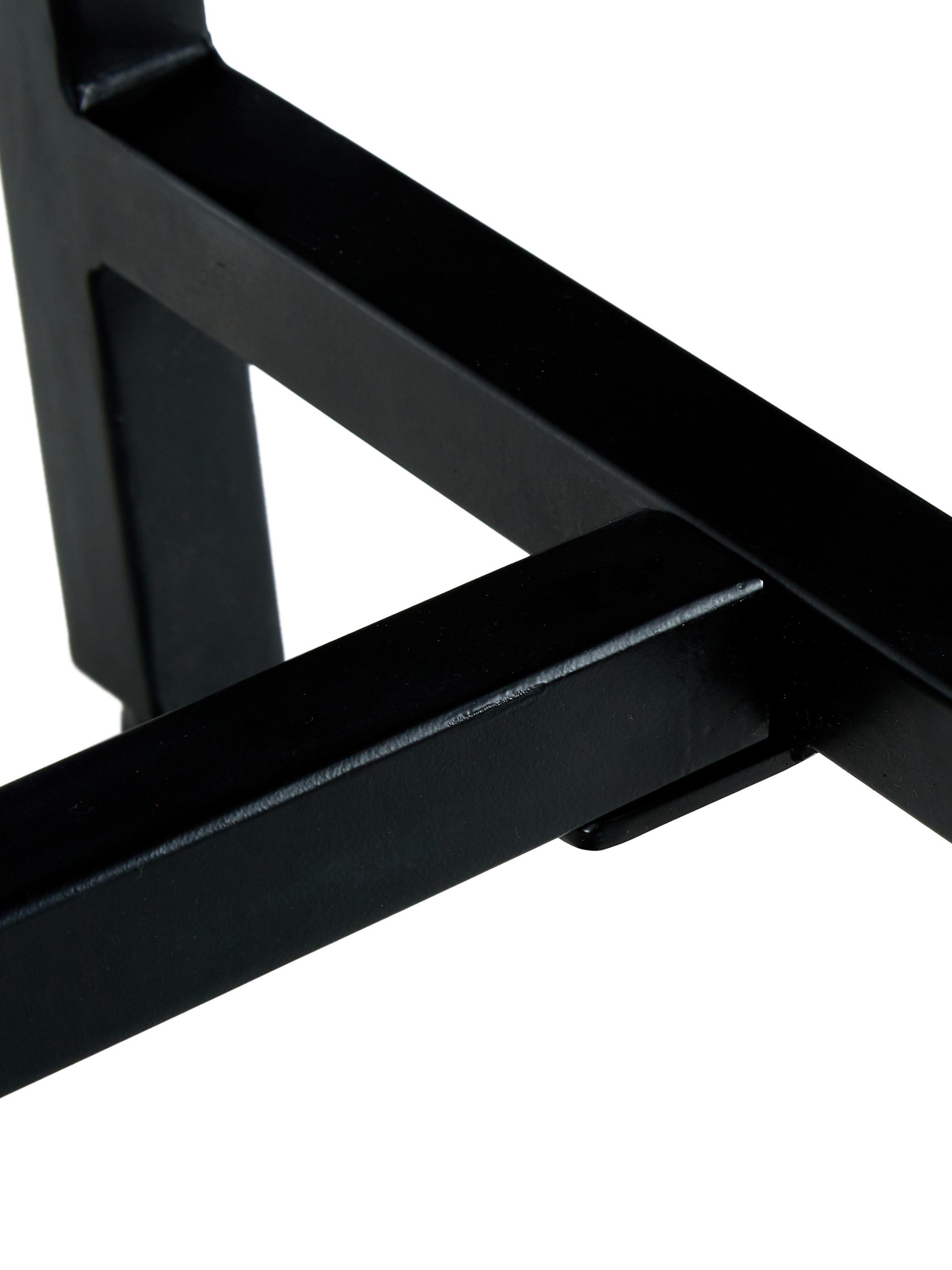 Sitzbank Raw aus massivem Mangoholz, Sitzfläche: Massives Mangoholz, gebür, Gestell: Metall, pulverbeschichtet, Sitzfläche: Mangoholz, schwarz lackiert Gestell: Schwarz, matt, 170 x 47 cm
