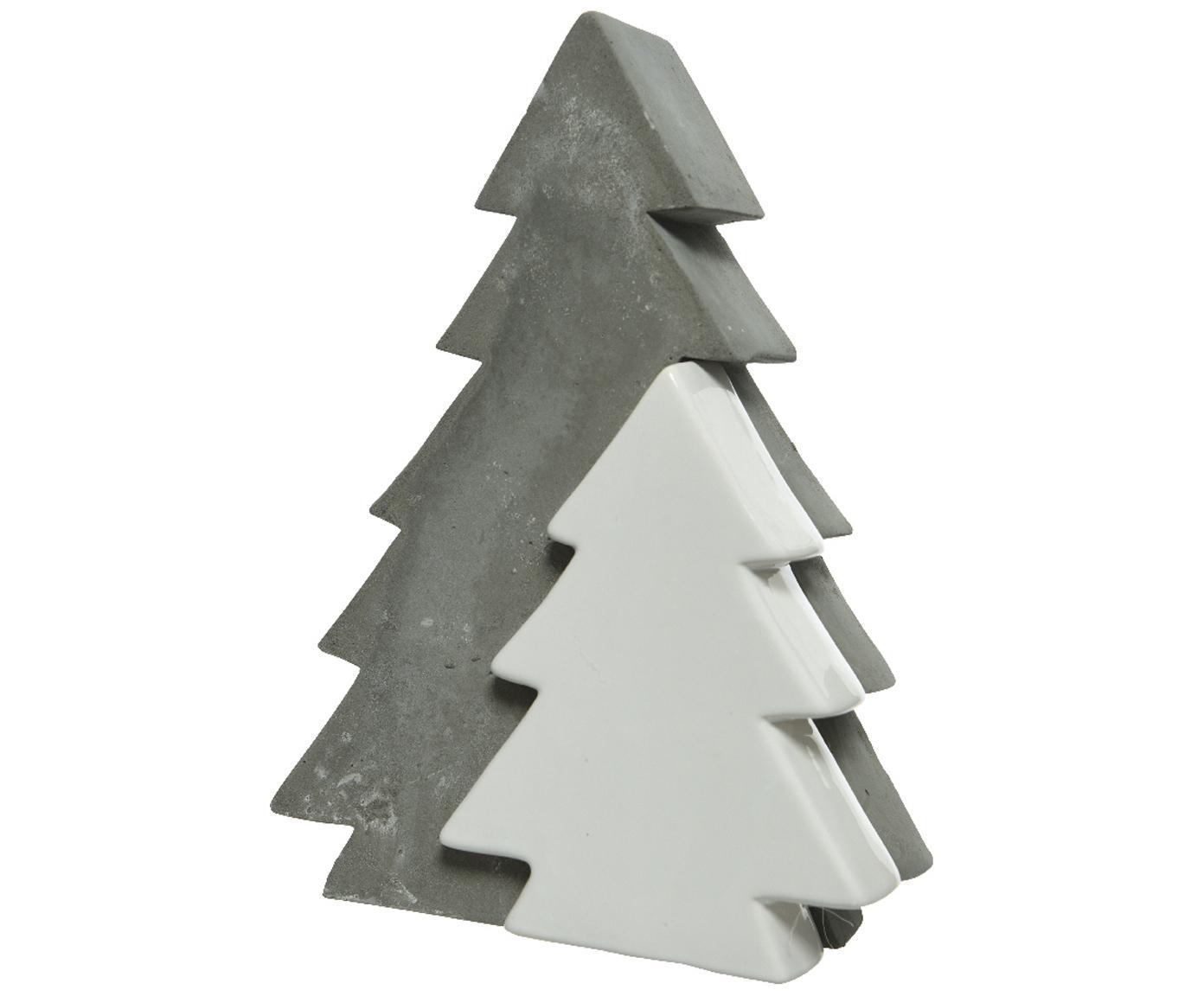 Decoratief object Joseph, Cement, deels gecoat, Grijs, wit, 14 x 22 cm