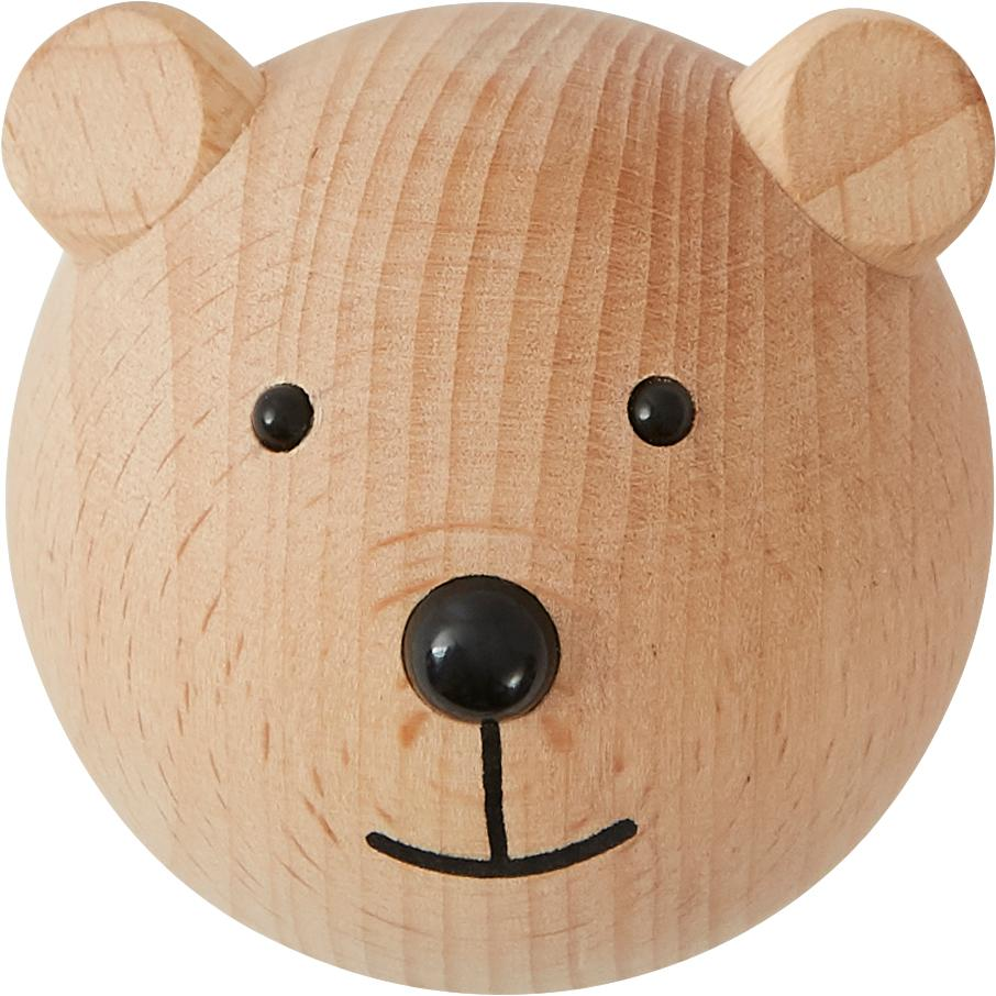 Colgador de pared Bear, Madera de haya, Madera, negro, An 5 x Al 5 cm