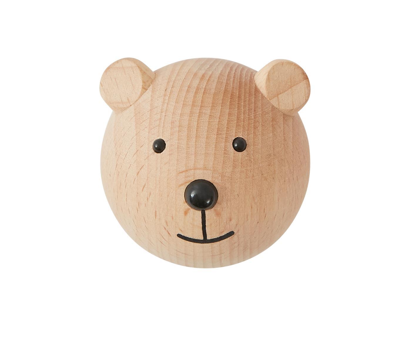 Hak ścienny z drewna bukowego Bear, Drewno bukowe, Drewno naturalne, czarny, S 5 x W 5 cm
