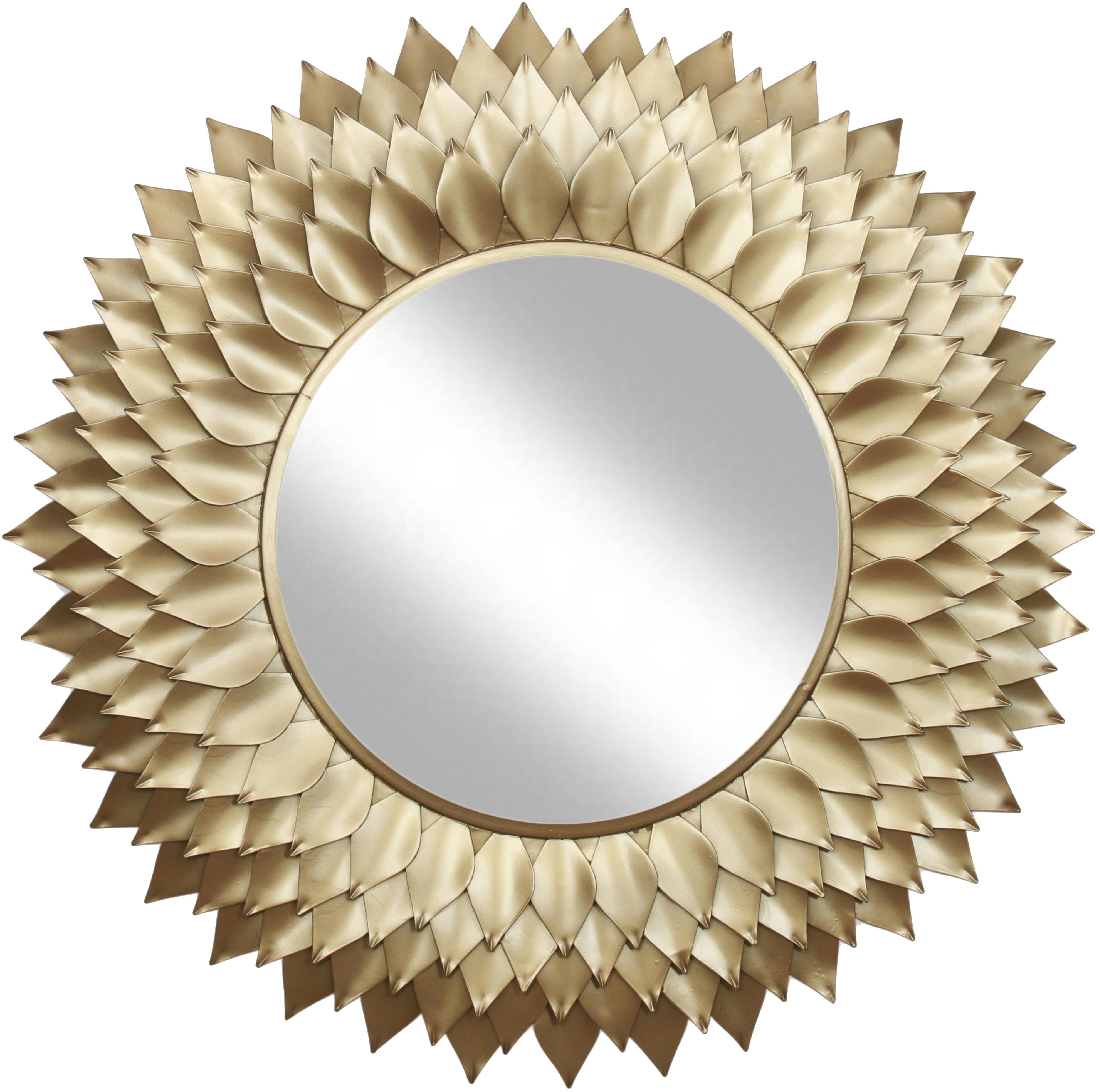 Ronde wandspiegel Petal met goudkleurige frame, Frame: metaal, Goudkleurig, Ø 95 cm