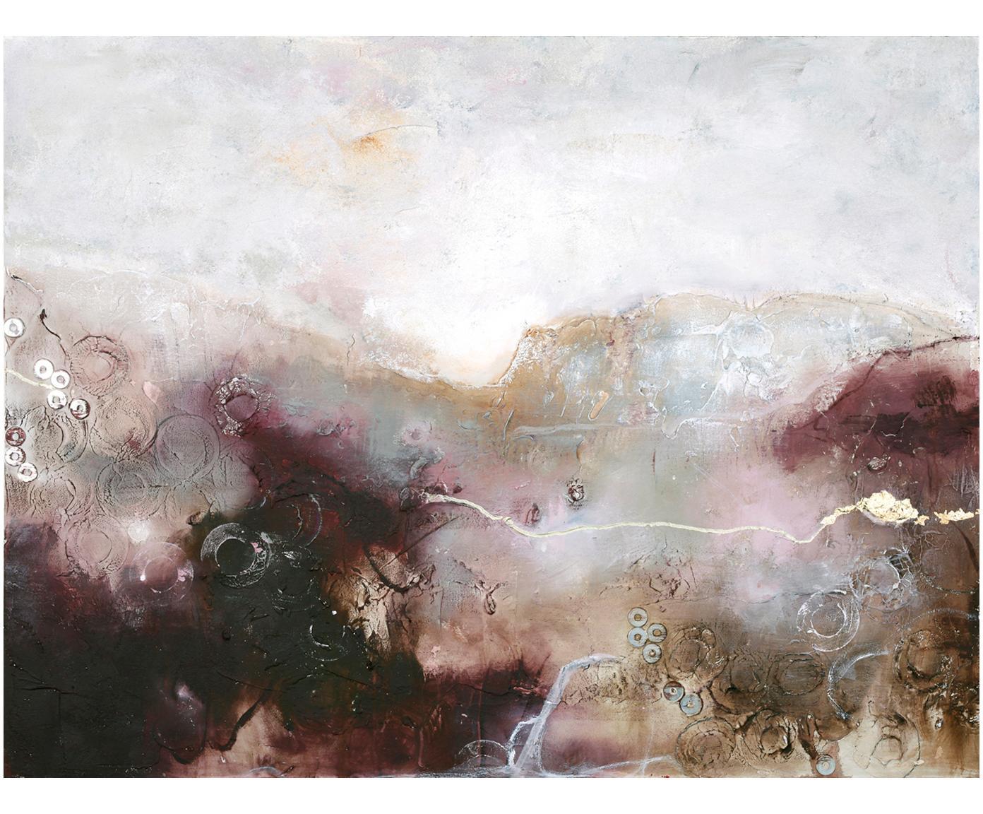 Quadro dipinto a mano Turning Red, Immagine: colori ad olio su tela (3, Barella: legno di abete, Multicolore, Larg. 120 x Alt. 90 cm
