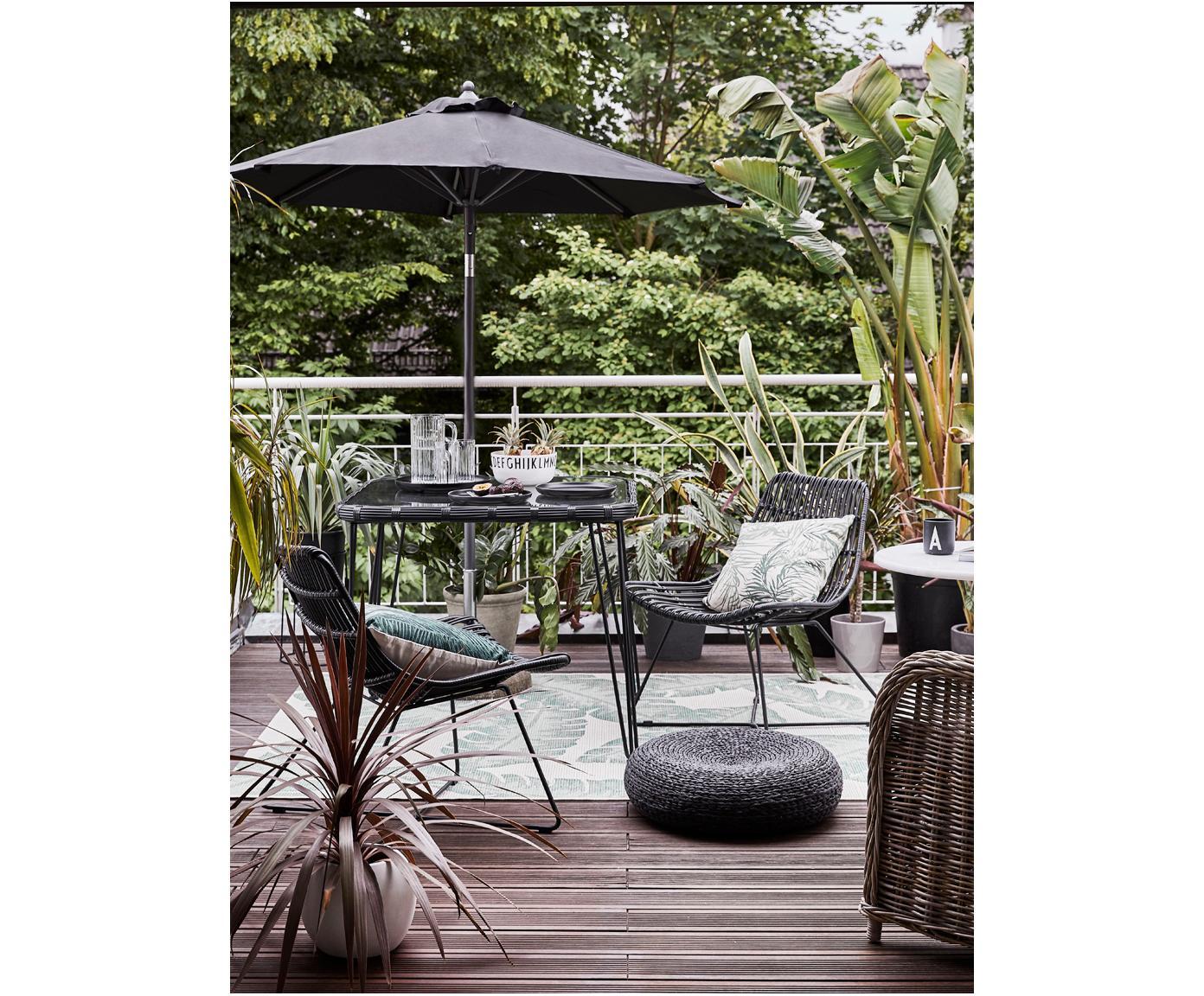 Fotel z polirattanu Costa, Stelaż: metal malowany proszkowo, Czarny, S 64 x G 64 cm