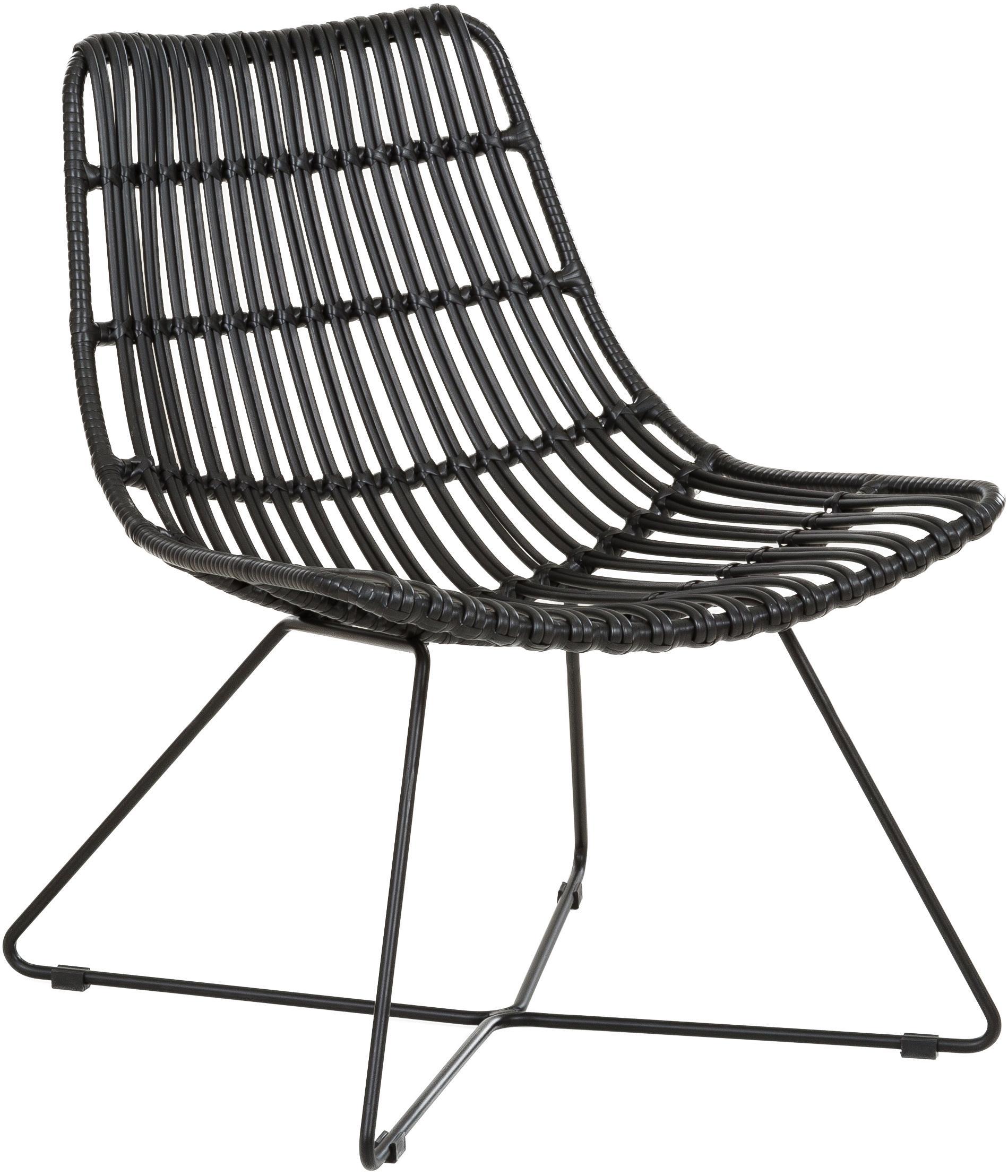Sedia a poltrona con intreccio Sola, Seduta: treccia di polietilene, Struttura: metallo verniciato a polv, Nero, Larg. 64 x Prof. 64 cm