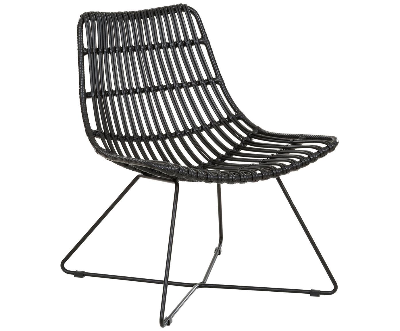 Sillón de mimbre Sola, Asiento: polietileno, Estructura: metal con pintura en polv, Negro, An 64 x F 64 cm
