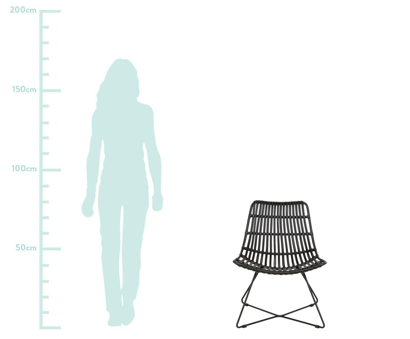 Stoel Sola, Zitvlak: polyethyleen-vlechtwerk, Frame: gepoedercoat metaal, Zwart, B 64 x D 64 cm