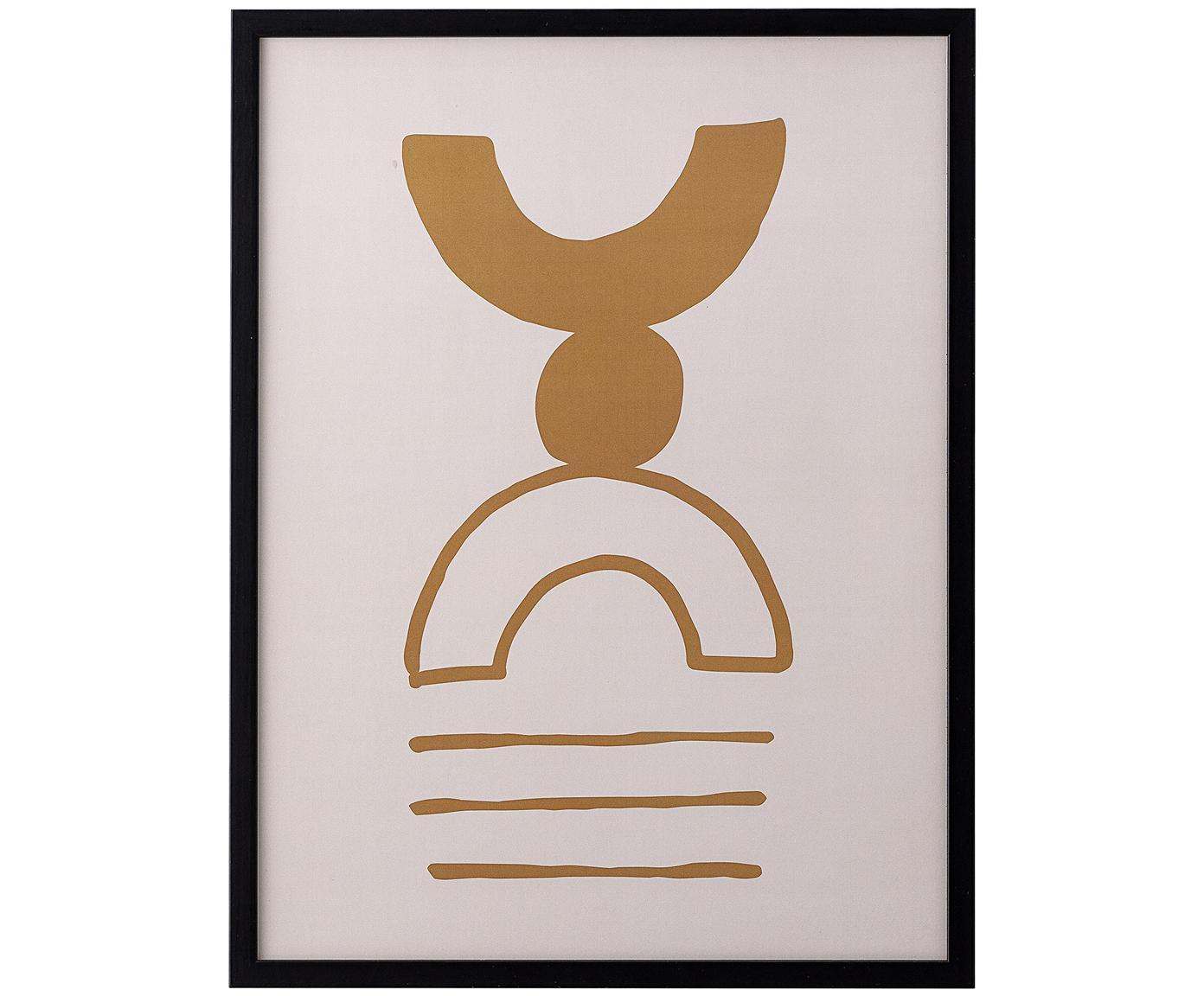 Oprawiony druk cyfrowy Kaya, Beżowy, brązowy, czarny, S 32 x W 42 cm