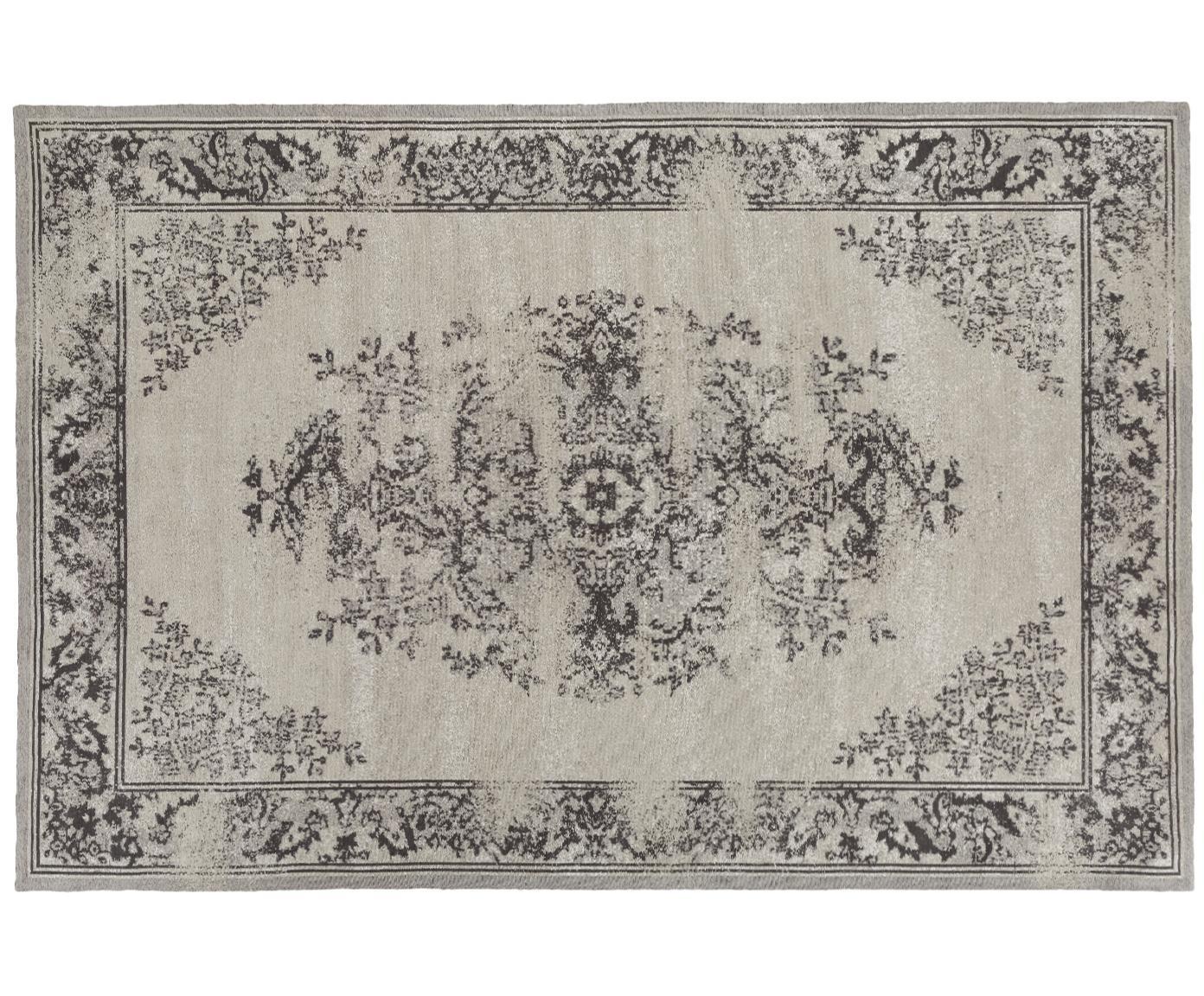 Chenille vloerkleed Touch, Bovenzijde: 95% katoen, 5% polyester, Onderzijde: 100% katoen, Grijs, 200 x 300 cm