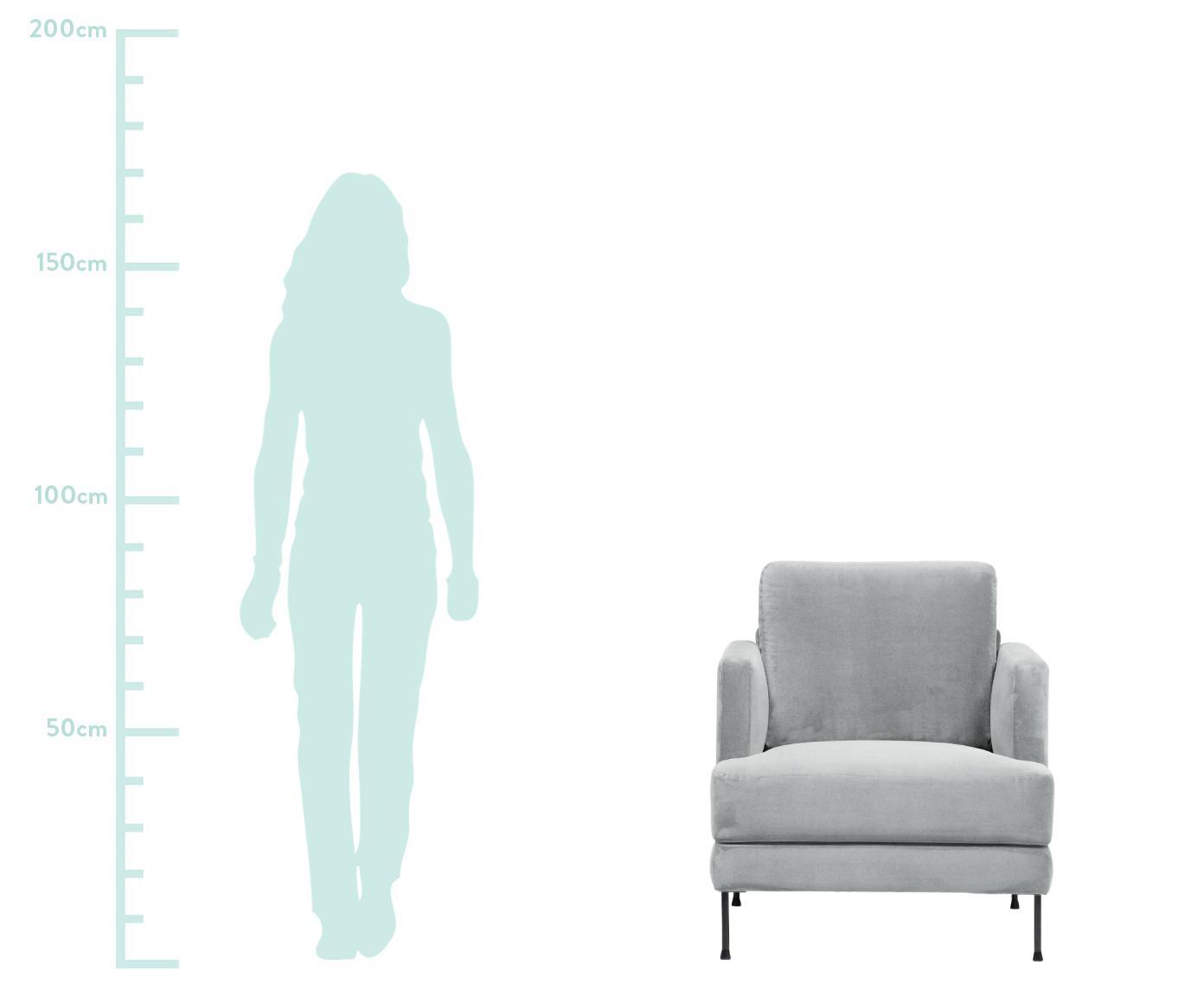 Fotel z aksamitu Fluente, Tapicerka: aksamit (wysokiej jakości, Stelaż: lite drewno sosnowe, Nogi: metal lakierowany, Jasny szary, S 76 x G 83 cm