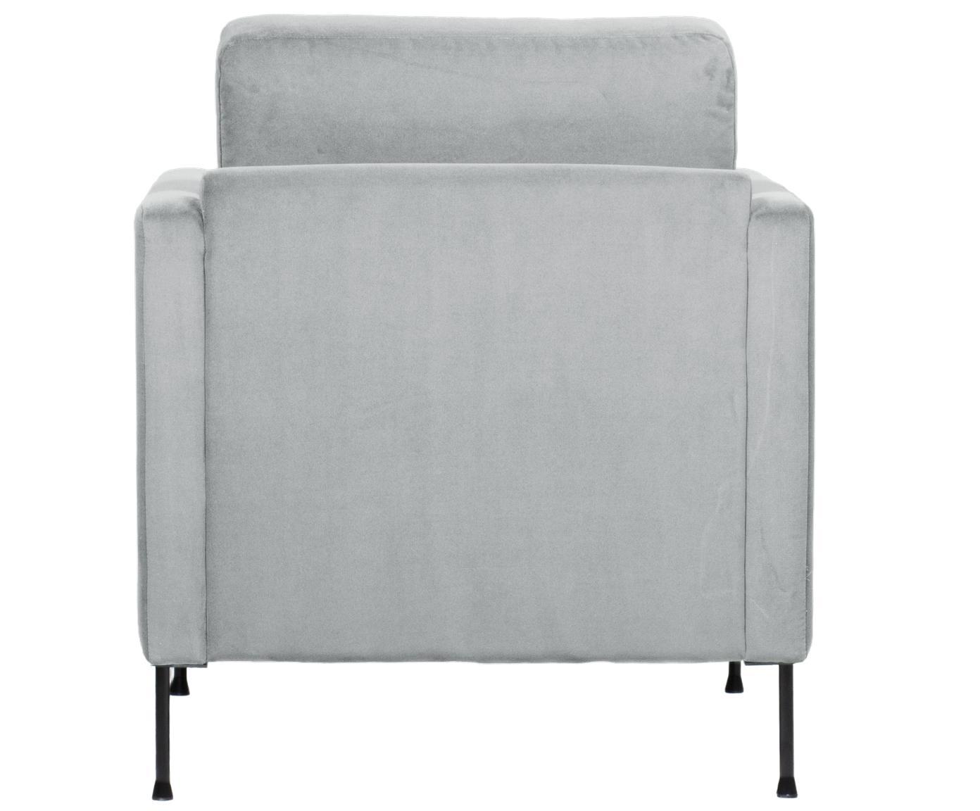 Samt-Sessel Fluente, Bezug: Samt (Hochwertiger Polyes, Gestell: Massives Kiefernholz, Füße: Metall, lackiert, Samt Hellgrau, B 76 x T 83 cm