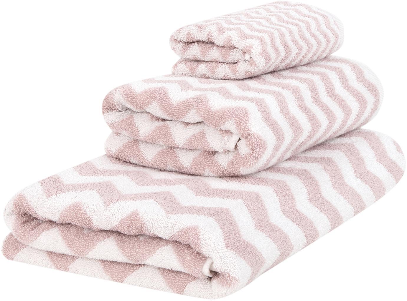 Set 3 asciugamani con motivo a zigzag Liv, Rosa, bianco crema, Set in varie misure