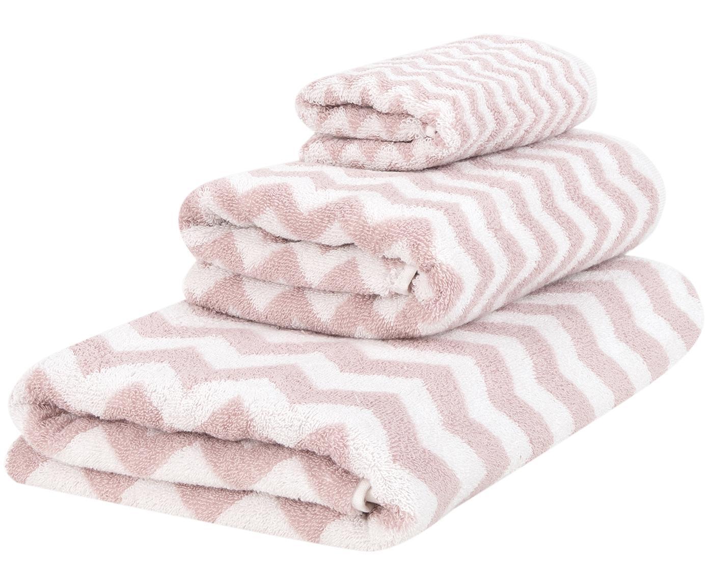 Handdoekenset Liv, 3-delig, 100% katoen, middelzware kwaliteit, 550 g/m², Roze, crèmewit, Verschillende formaten