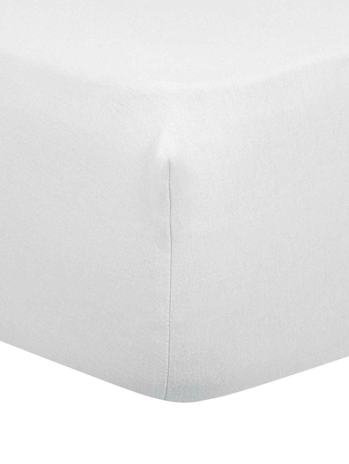 Lenzuolo con angoli in flanella Biba, Tessuto: flanella, Grigio chiaro, Larg. 160 x Lung. 200 cm