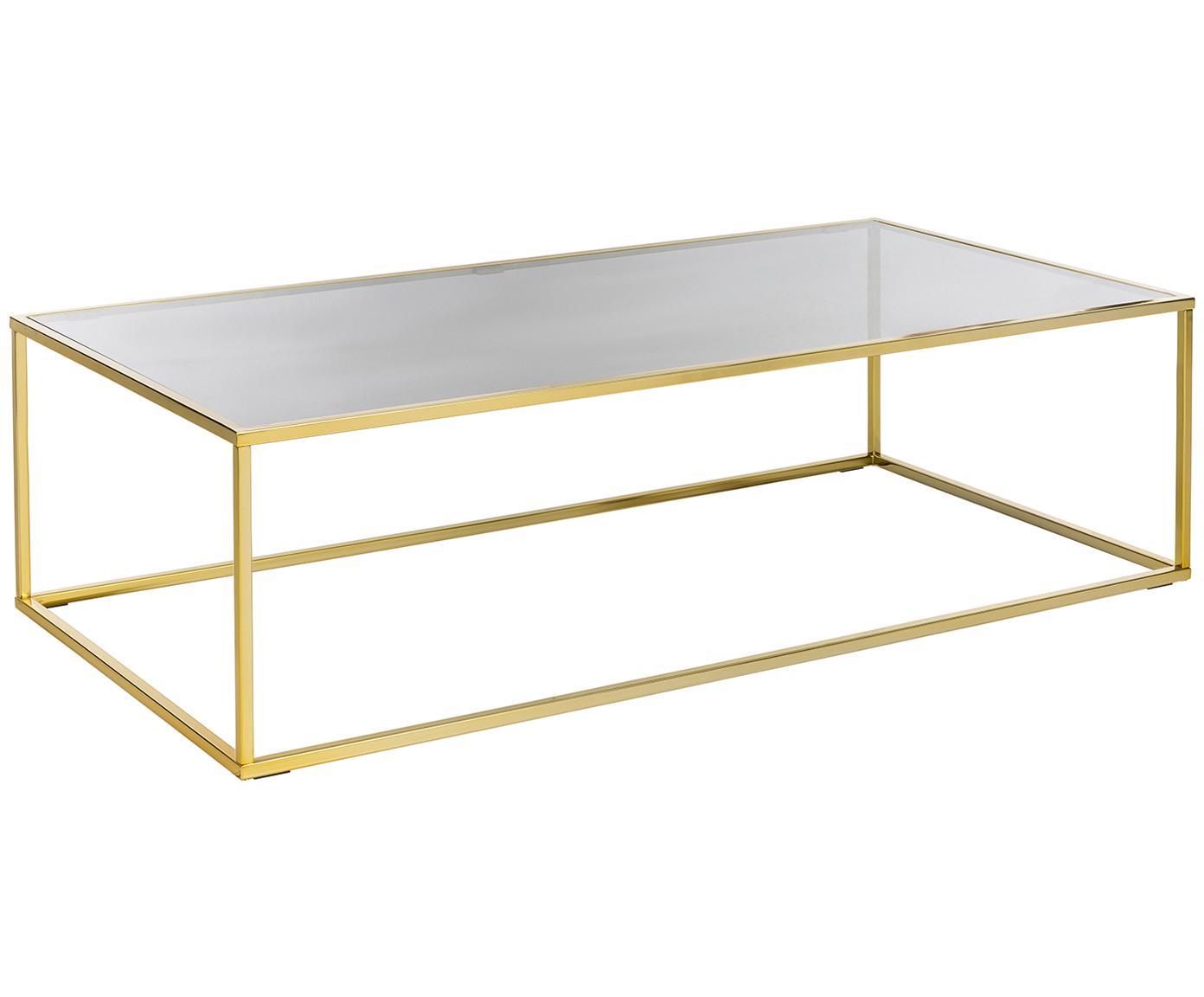 Tavolino da salotto Maya, Piano d'appoggio: vetro temperato, Struttura: metallo zincato, Piano d'appoggio: vetro tinto nero Struttura: dorato lucido, L 130 x P 65 cm