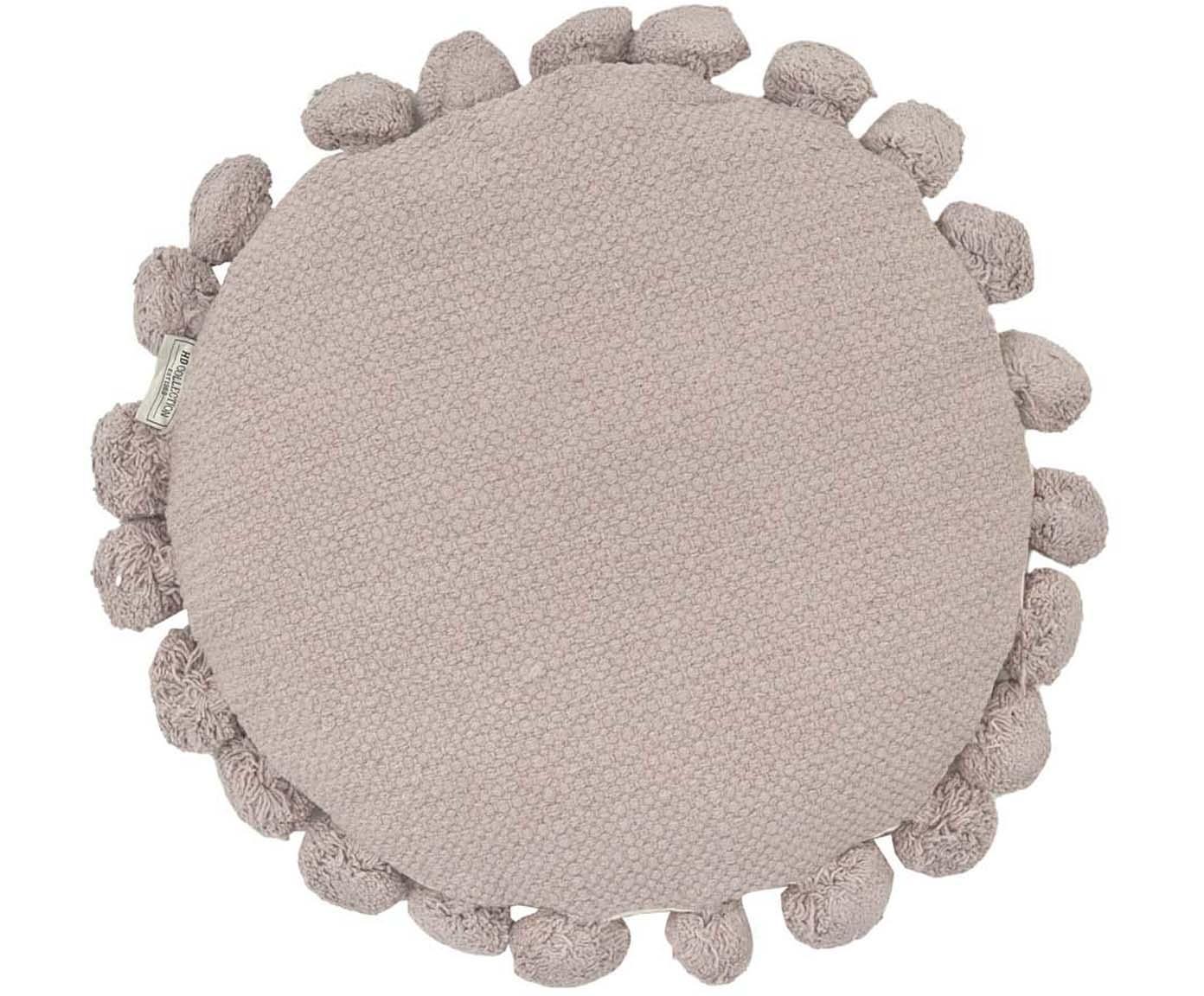 Cojín redondo con pompones Betta, con relleno, Funda: algodón, Gris, Ø 45 cm