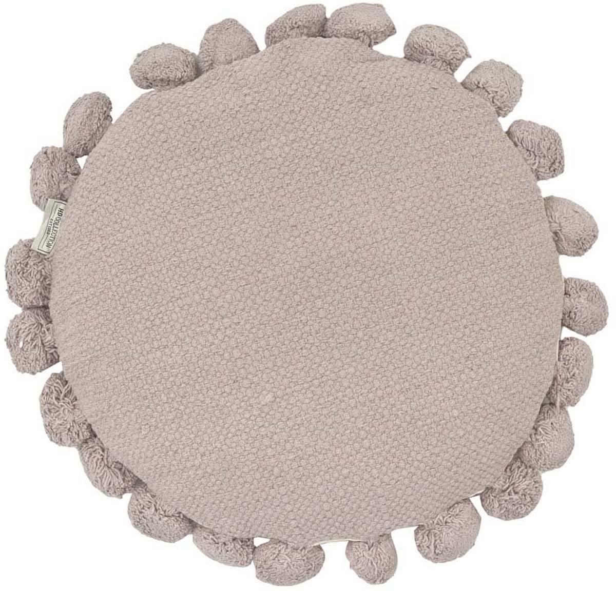 Rundes Kissen Betta mit Pompoms, mit Inlett, Steingrau, Ø 45 cm