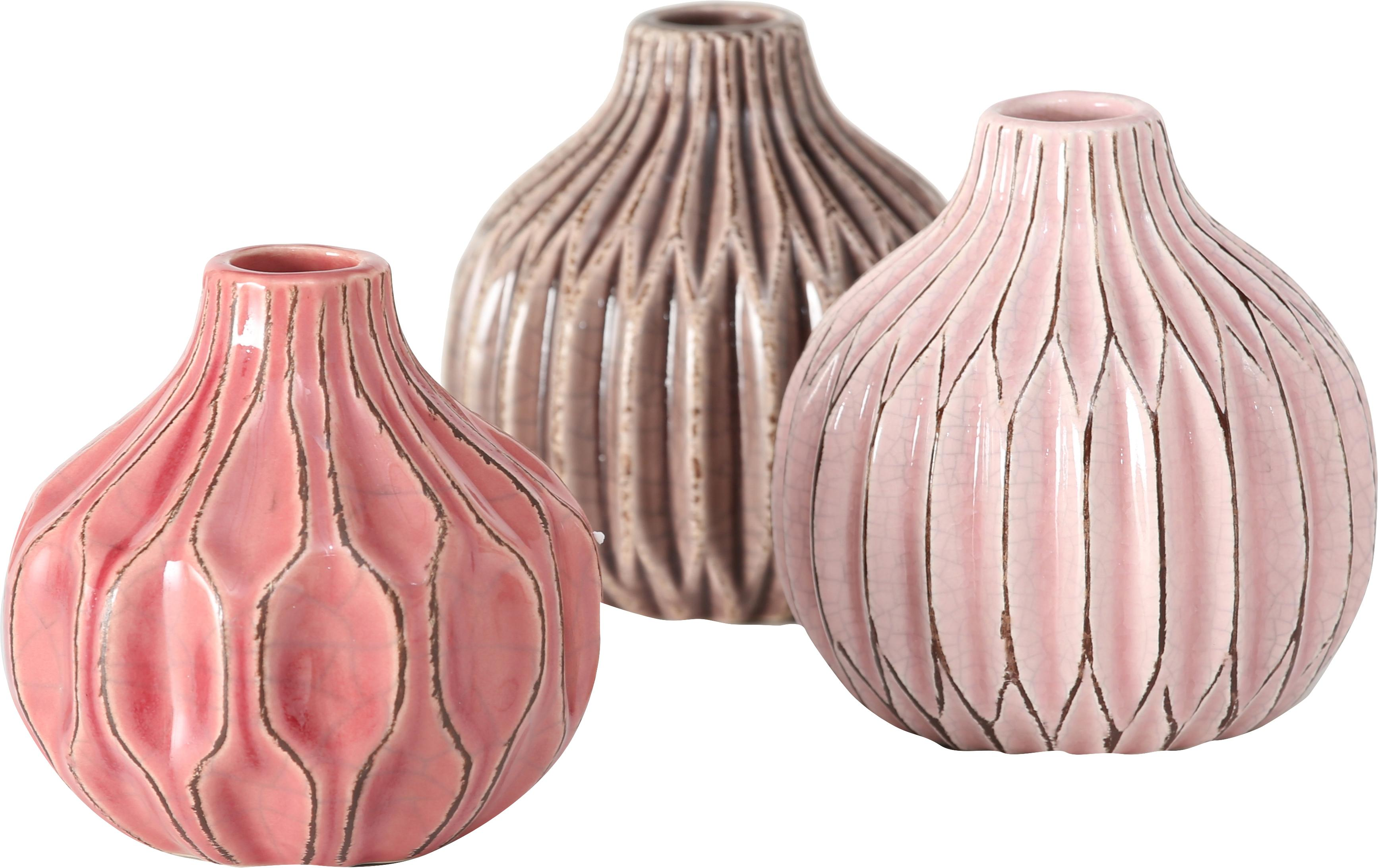 Komplet małych wazonów z kamionki Lenja, 3elem., Kamionka, Blady różowy, koralowy, brązowy, Ø 11 x W 11 cm