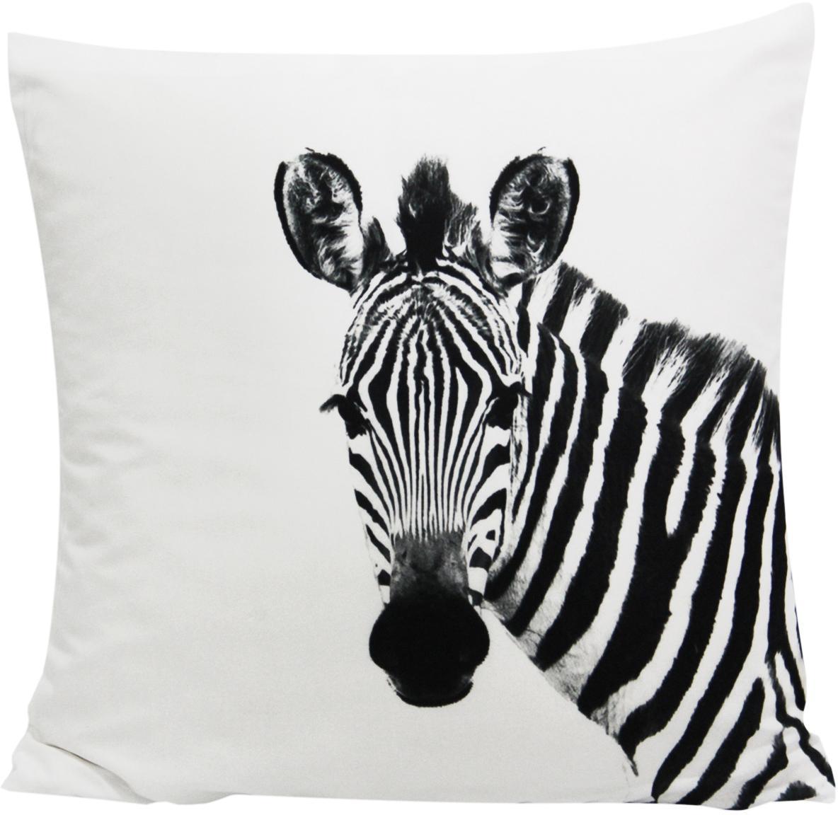 Kussenhoes Kelsey met zebra motief in zwart/wit, 100% polyester, Wit, zwart, 45 x 45 cm