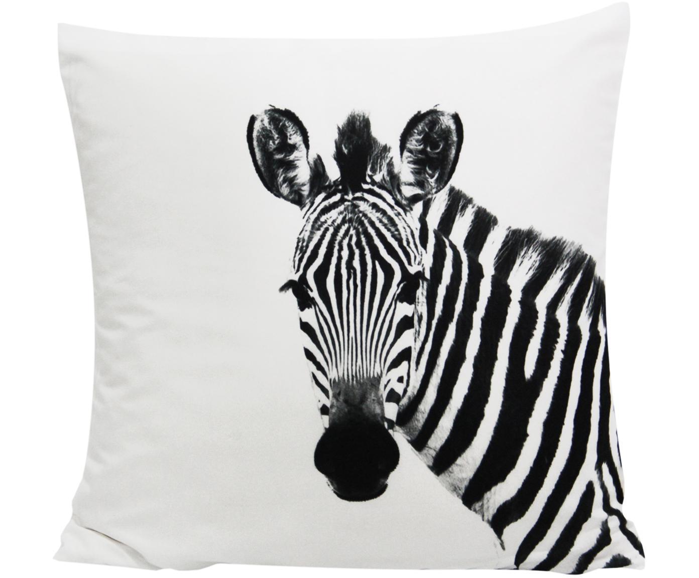 Kussenhoes Kelsey met zebra motief in zwart/wit, Polyester, Wit, zwart, 45 x 45 cm