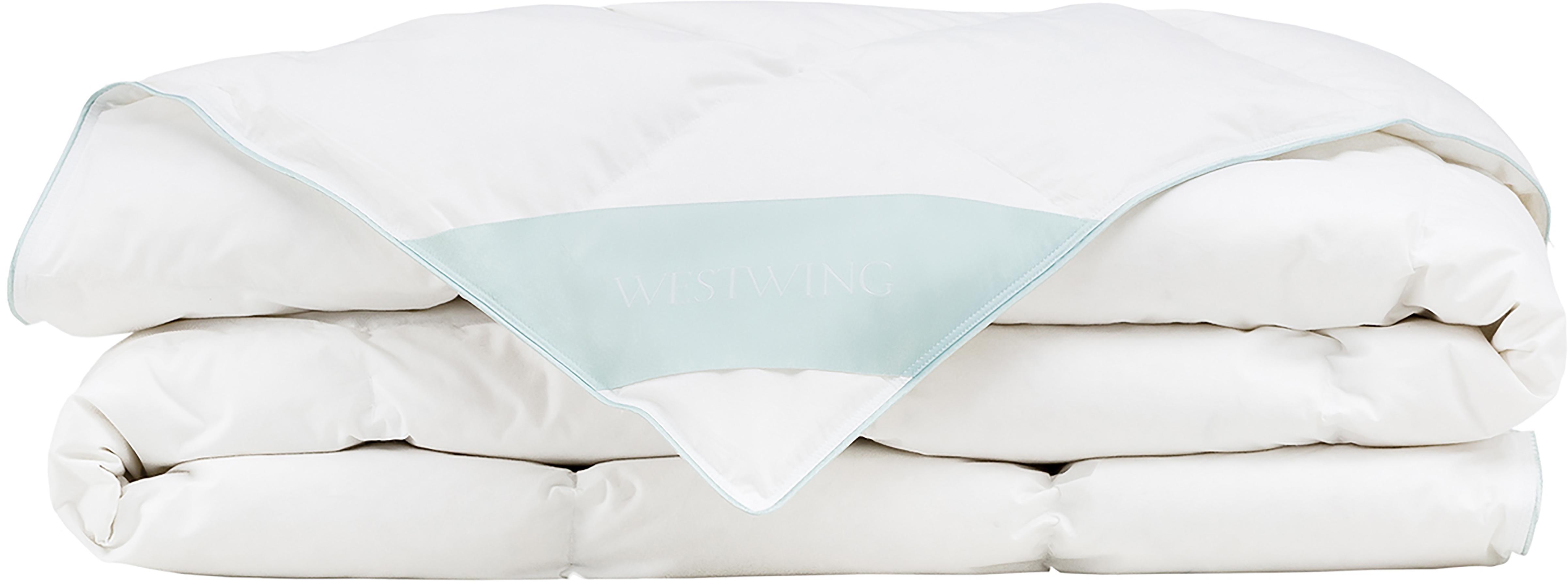 Daunen-Bettdecke Comfort, extra leicht, Hülle: 100% Baumwolle, feine Mak, Weiß, 155 x 220 cm