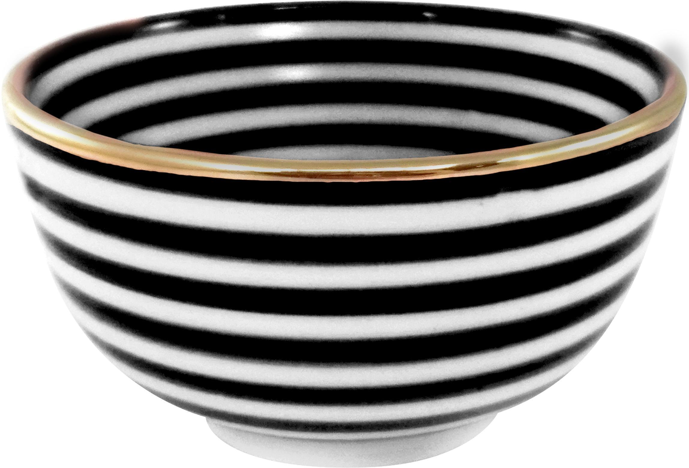 Handgemachtes Schälchen Moyen mit Goldrand, Keramik, Schwarz, Cremefarben, Gold, Ø 15 x H 9 cm