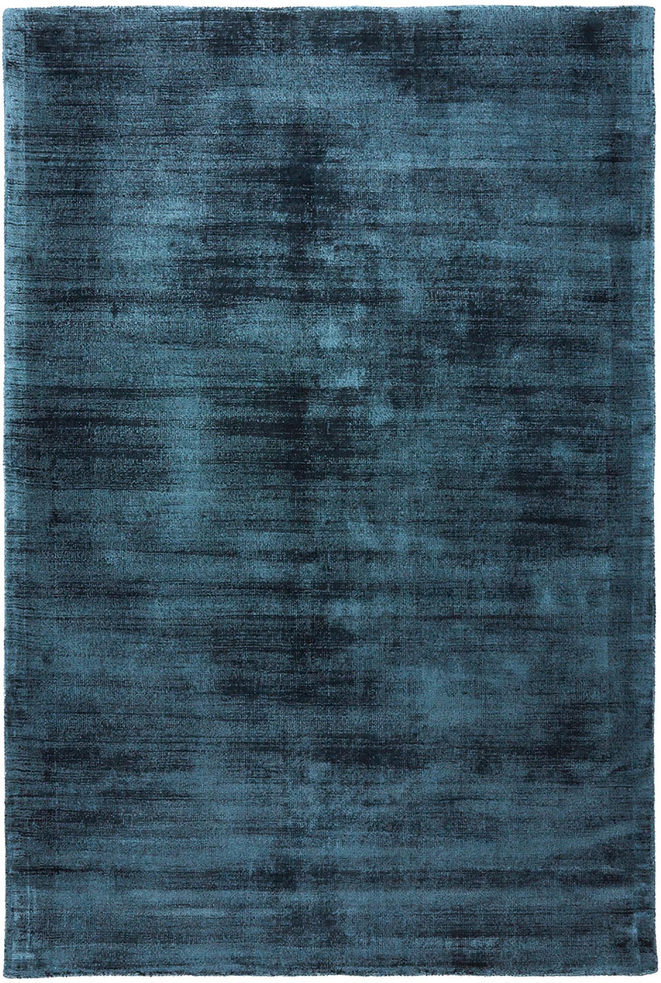 Alfombra artesanal de viscosa Jane, Parte superior: 100%viscosa, Reverso: 100%algodón, Azul petróleo, An 200 x L 300 cm (Tamaño L)