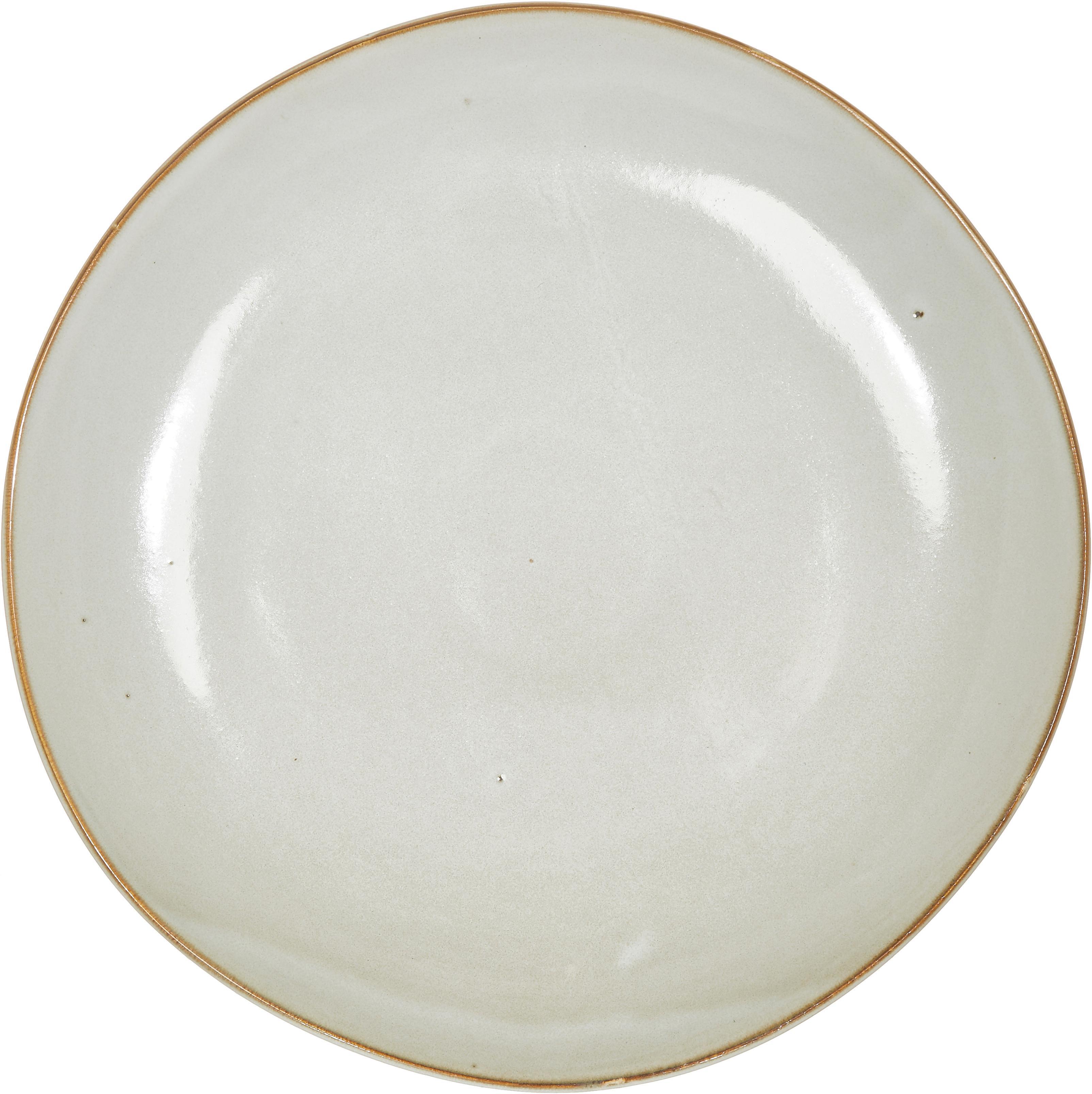 Ręcznie wykonany talerz duży Thalia, 2 szt., Ceramika, Kremowy z ciemną krawędzią, Ø 27 cm