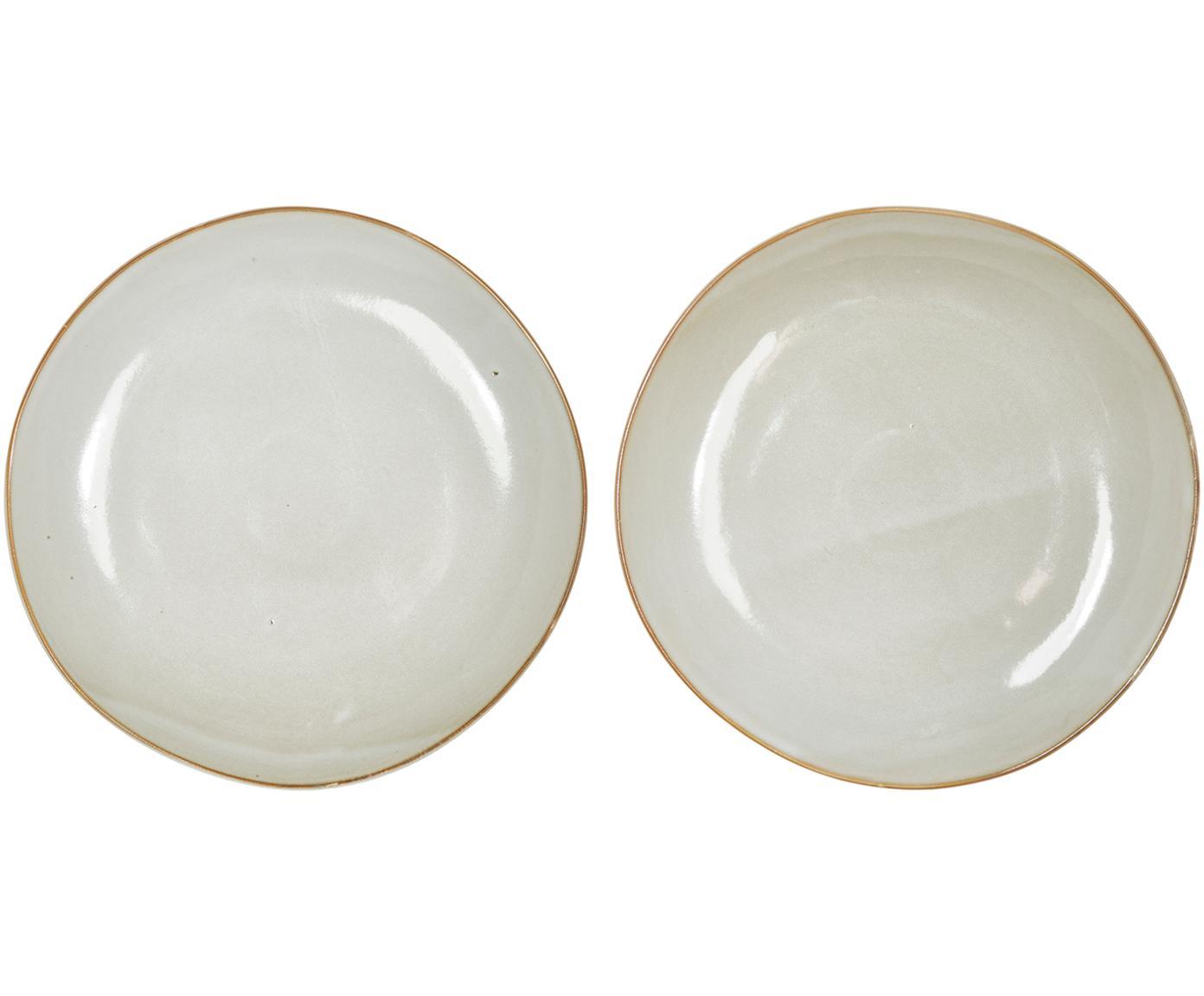 Platos llanos artesanales Thalia, 2uds., Cerámica, Crema con borde oscuro, Ø 27 cm