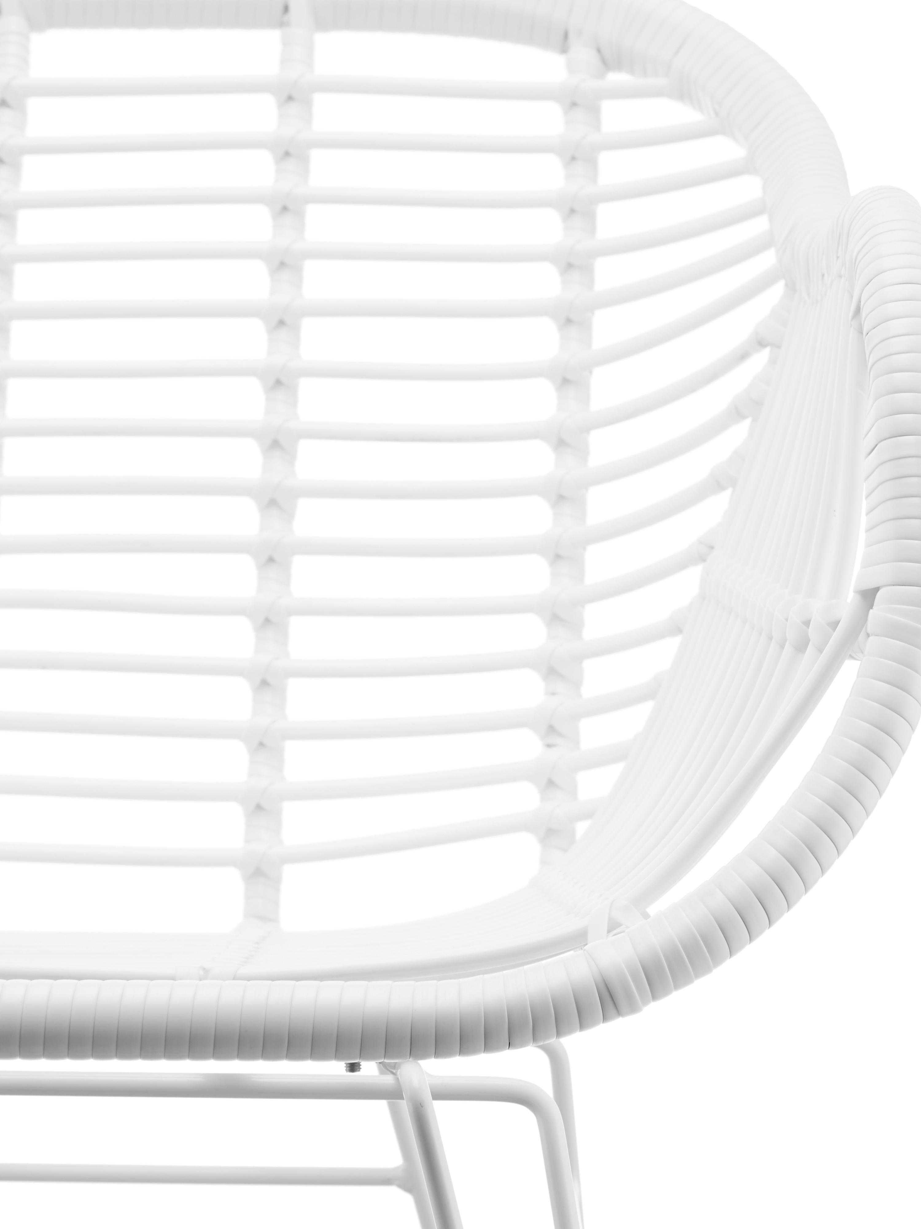 Sillas con reposabrazos Costa, 2uds., Asiento: polietileno, Estructura: metal con pintado en polv, Blanco, An 59 x F 58 cm